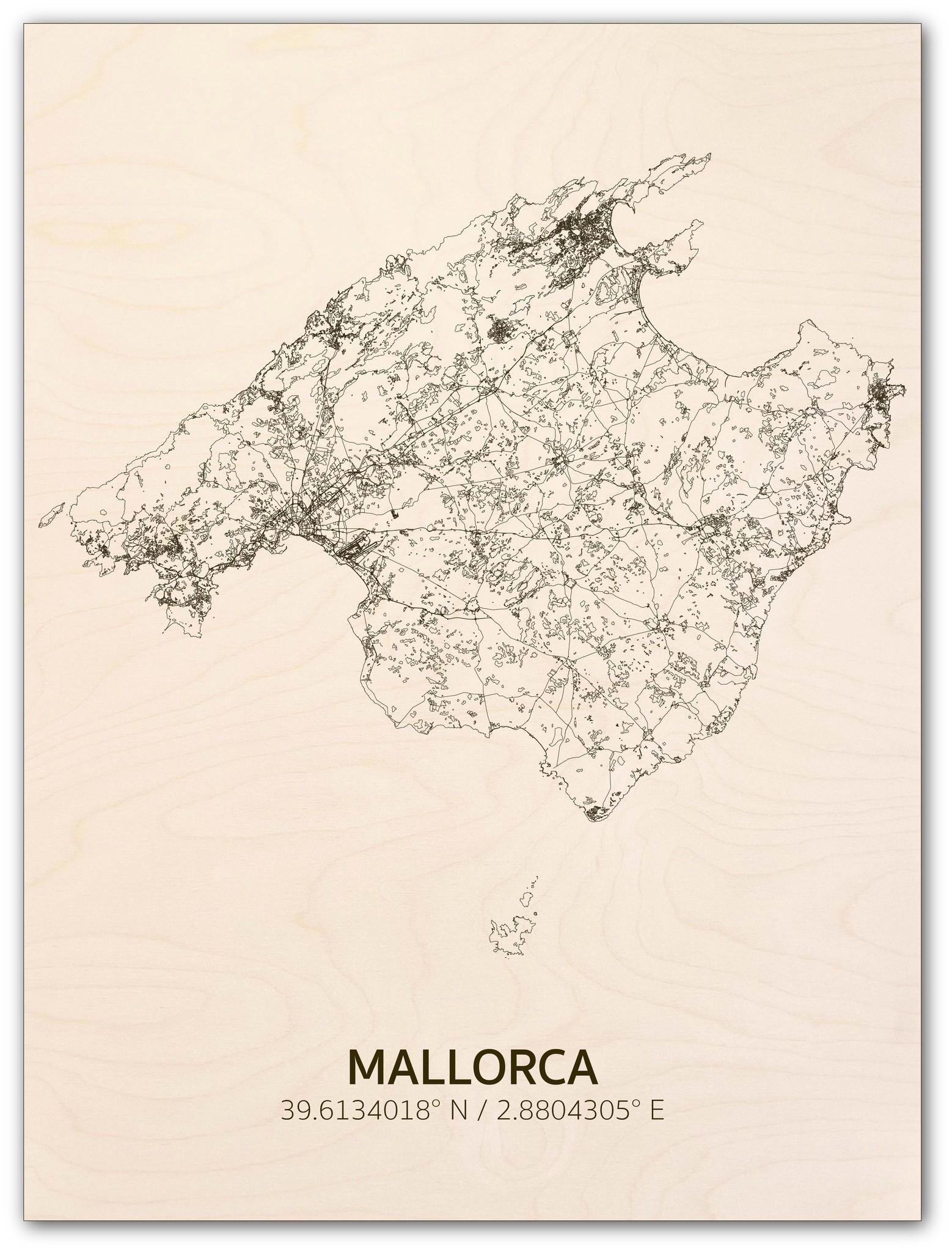 Citymap Mallorca | houten wanddecoratie-1