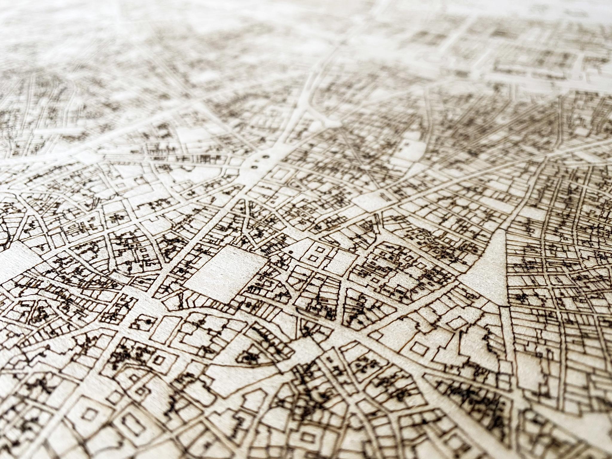 Stadtplan Kathmandu | Wanddekoration Holz-3
