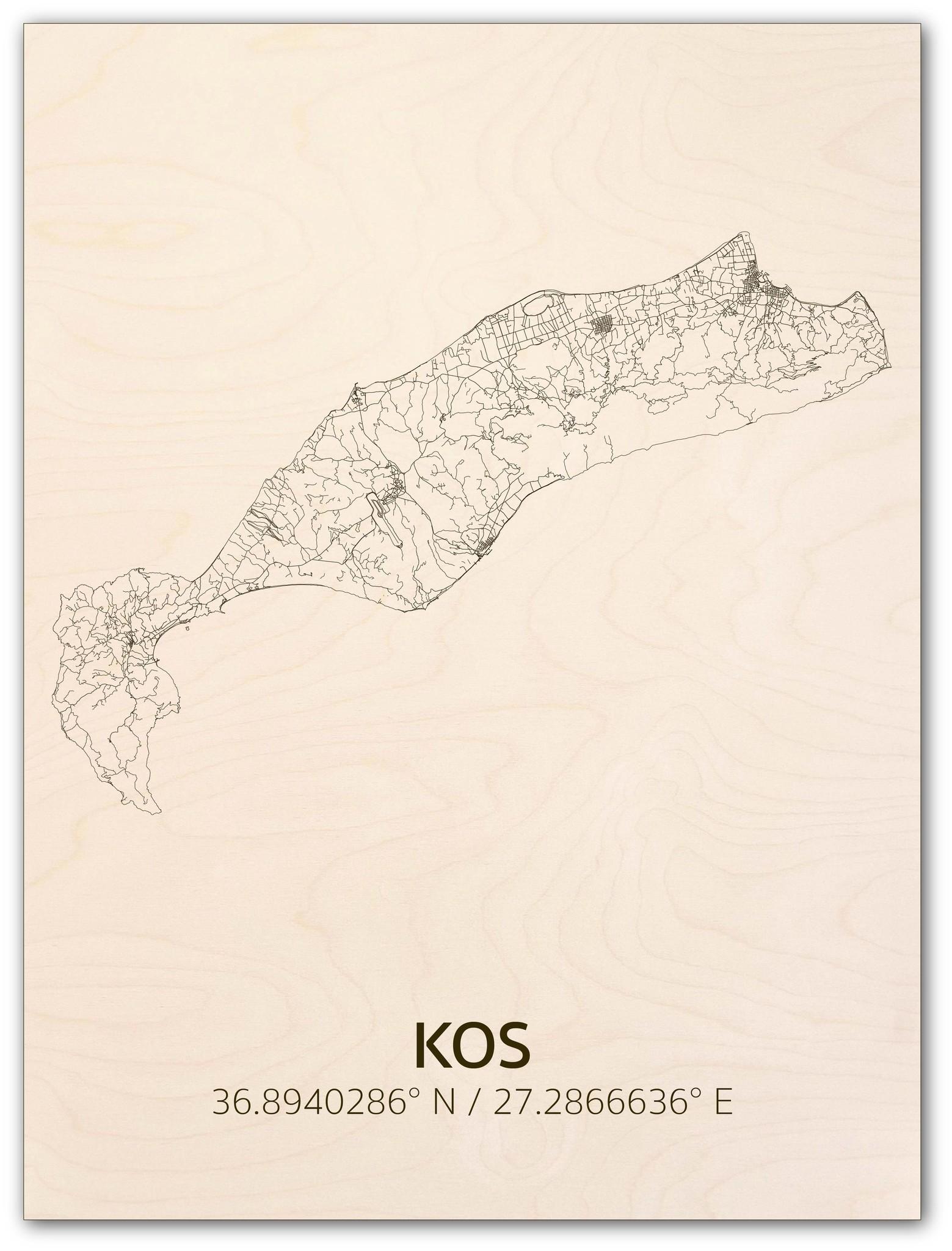 Stadtplan Kos | Wanddekoration Holz-1