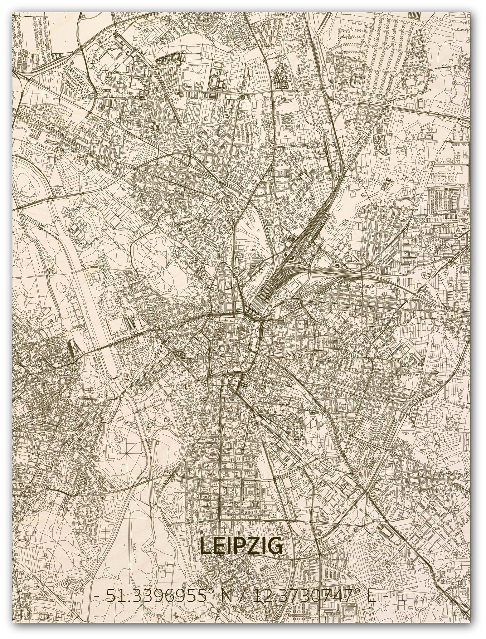 Citymap Leipzig | houten wanddecoratie-1