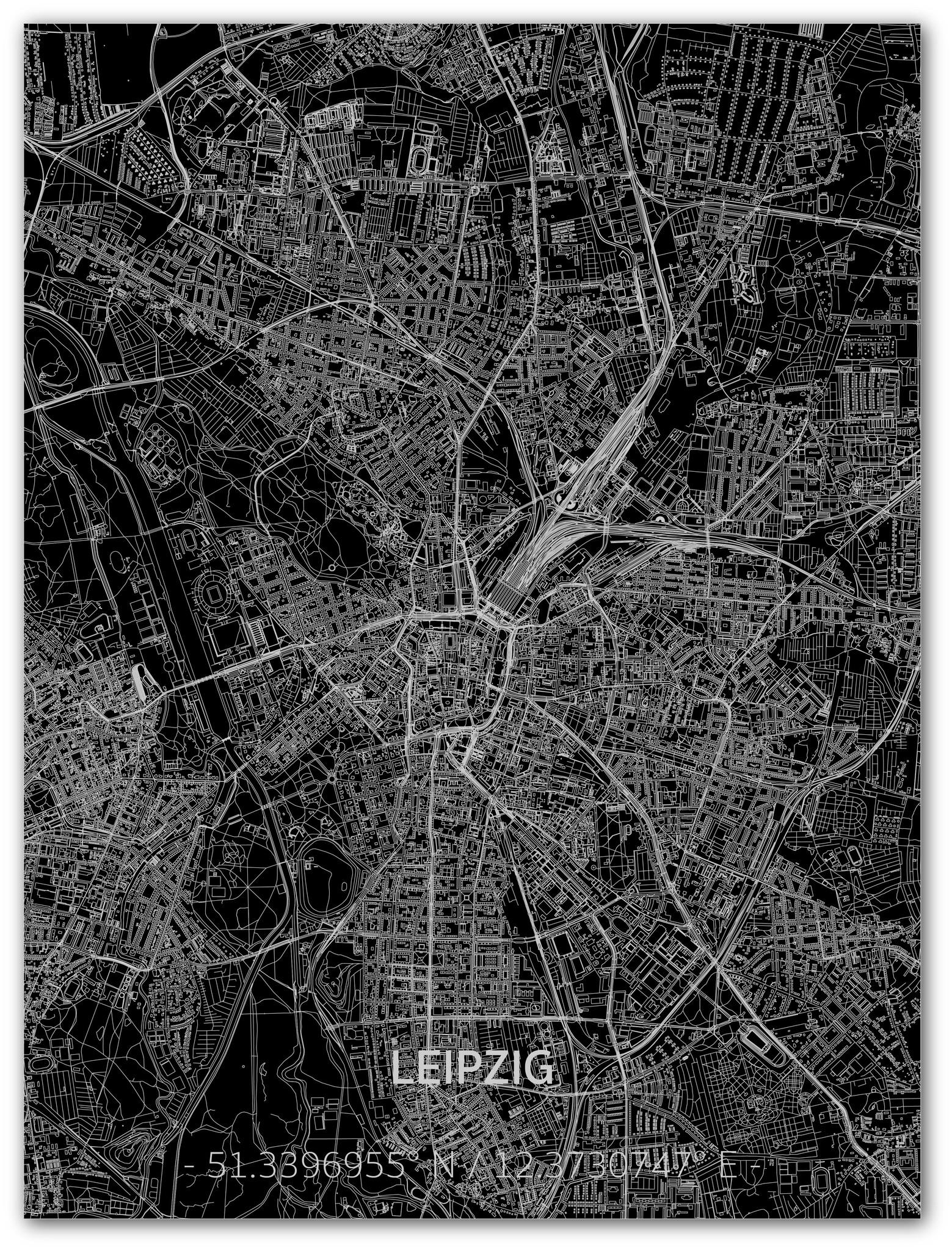 Citymap Leipzig | Aluminium wanddecoratie-1