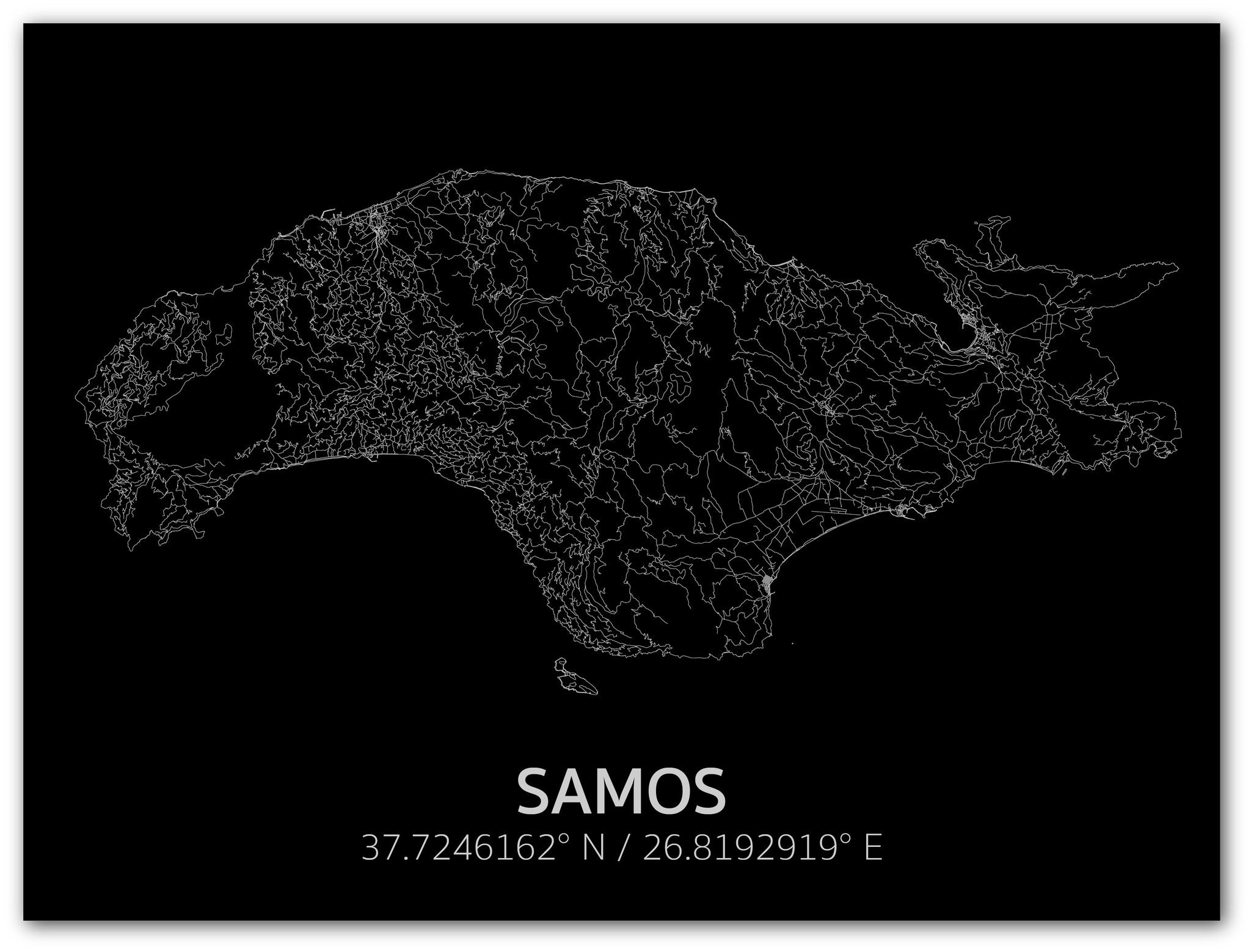 Citymap Samos | Aluminum wall decoration-1