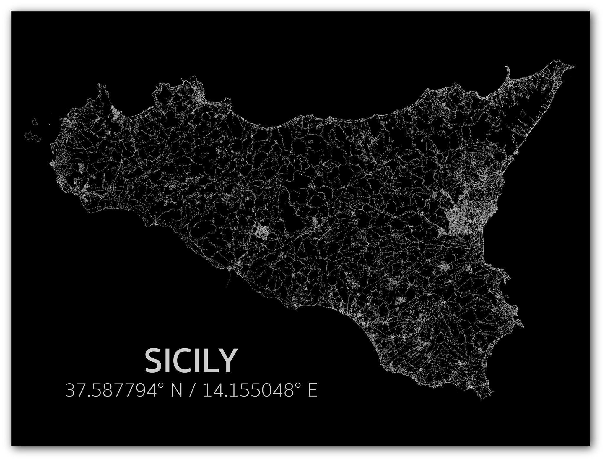 Citymap Sicilië | Aluminium wanddecoratie-1