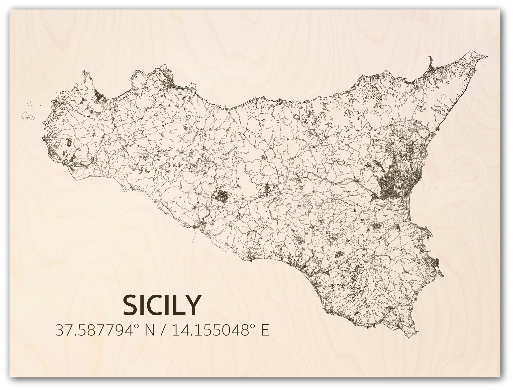Stadtplan Sizilien | Wanddekoration Holz-1