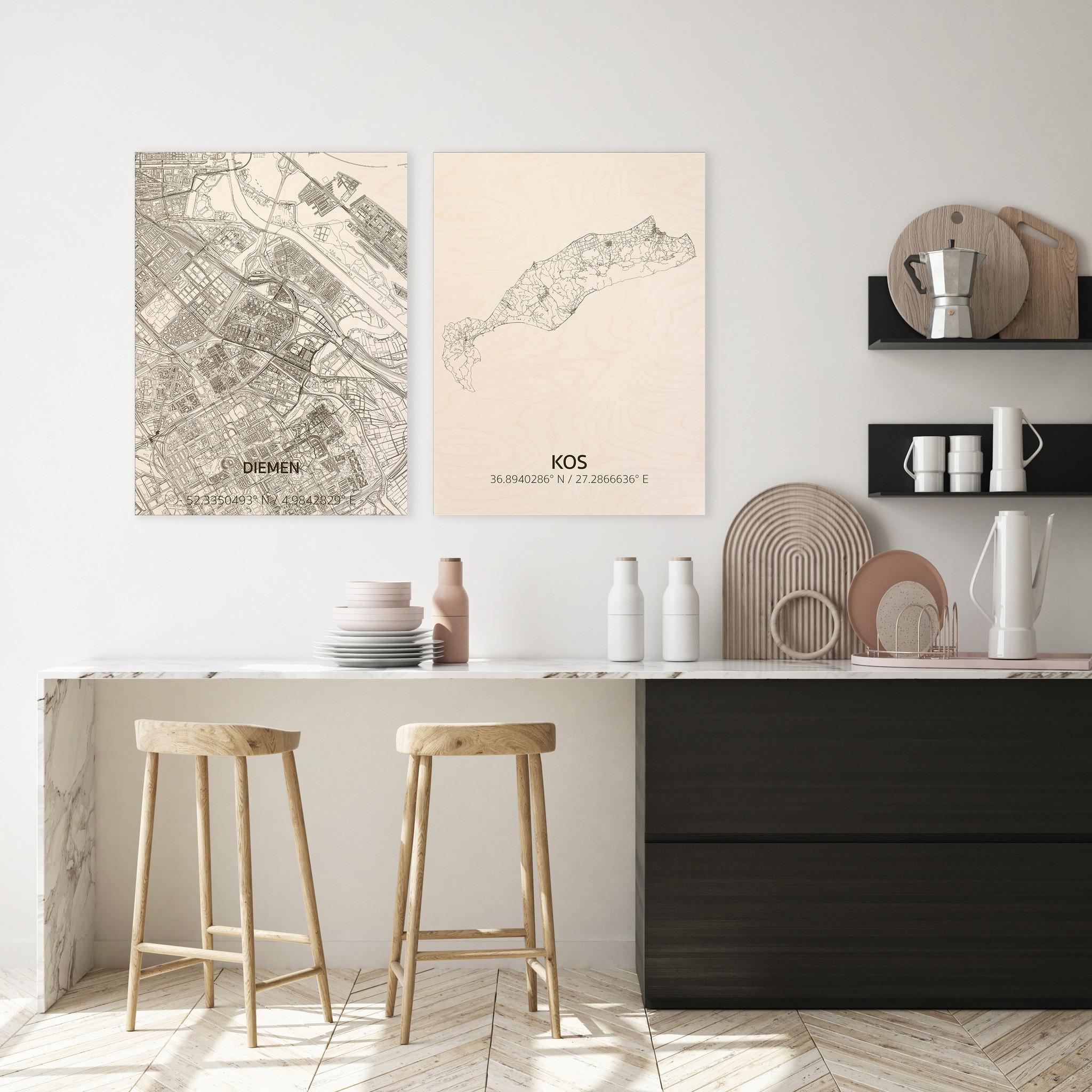 Stadtplan Kos | Wanddekoration Holz-2