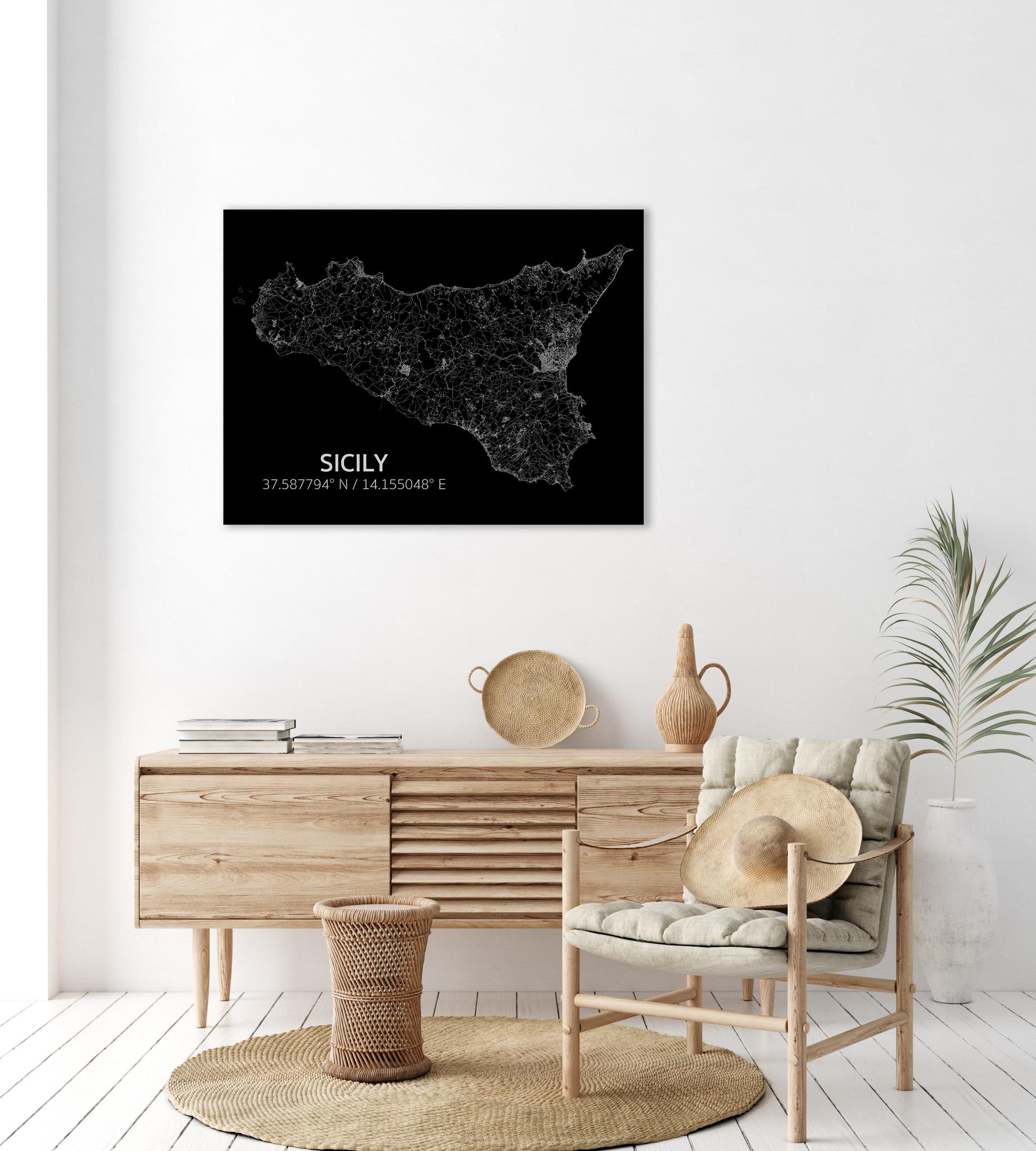 Citymap Sicilië | Aluminium wanddecoratie-2