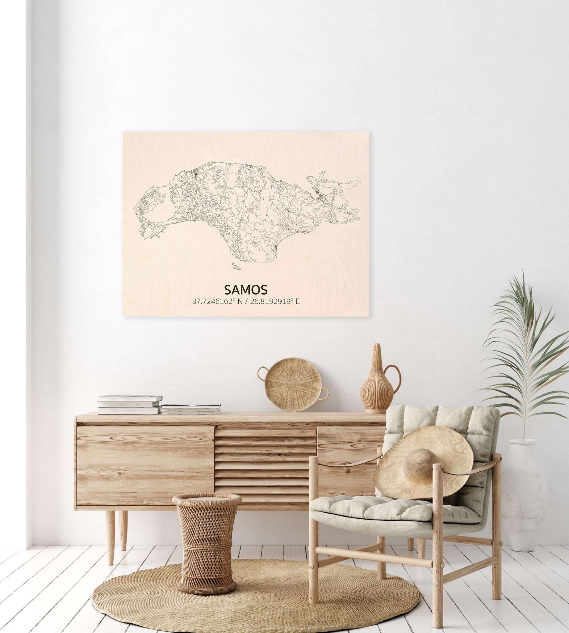 Citymap Samos | wooden wall decoration-2