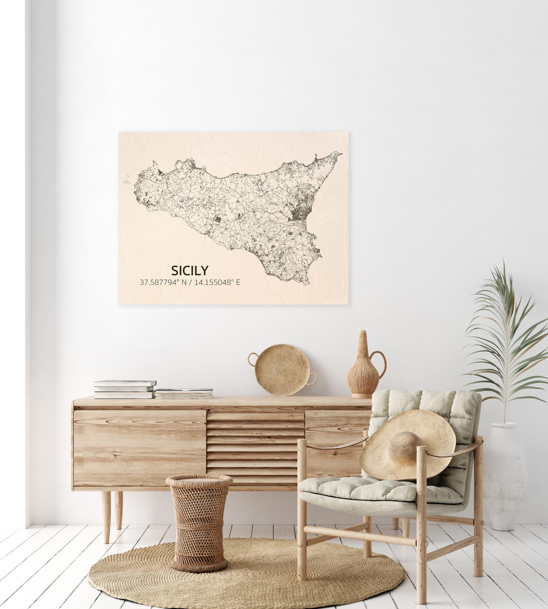 Stadtplan Sizilien | Wanddekoration Holz-2