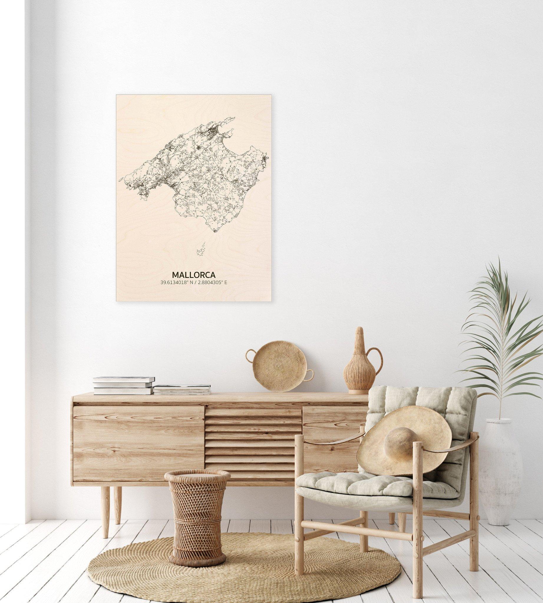 Citymap Mallorca | houten wanddecoratie-2