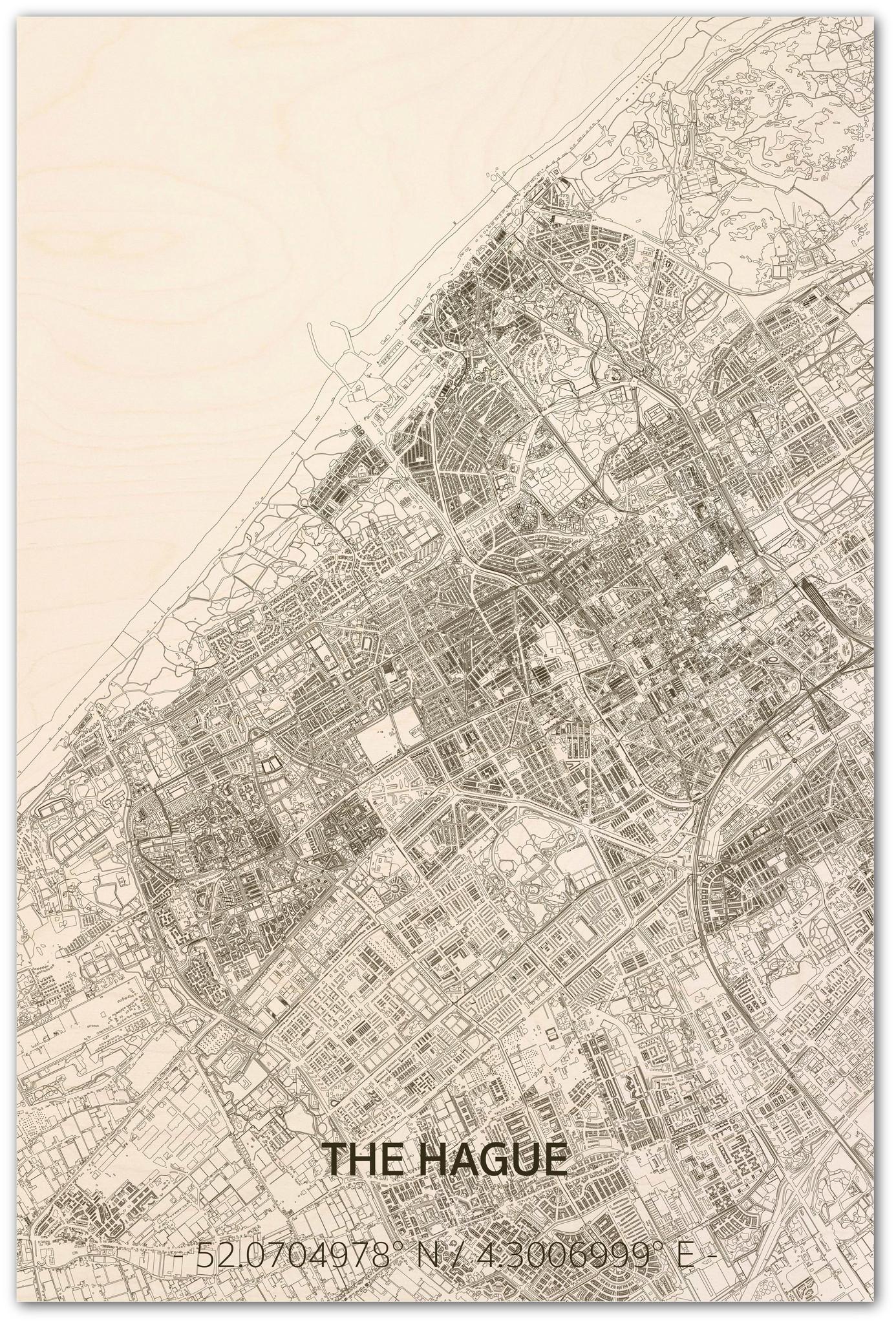 WOODEN WALL DECORATION Den Haag CITYMAP XL-1
