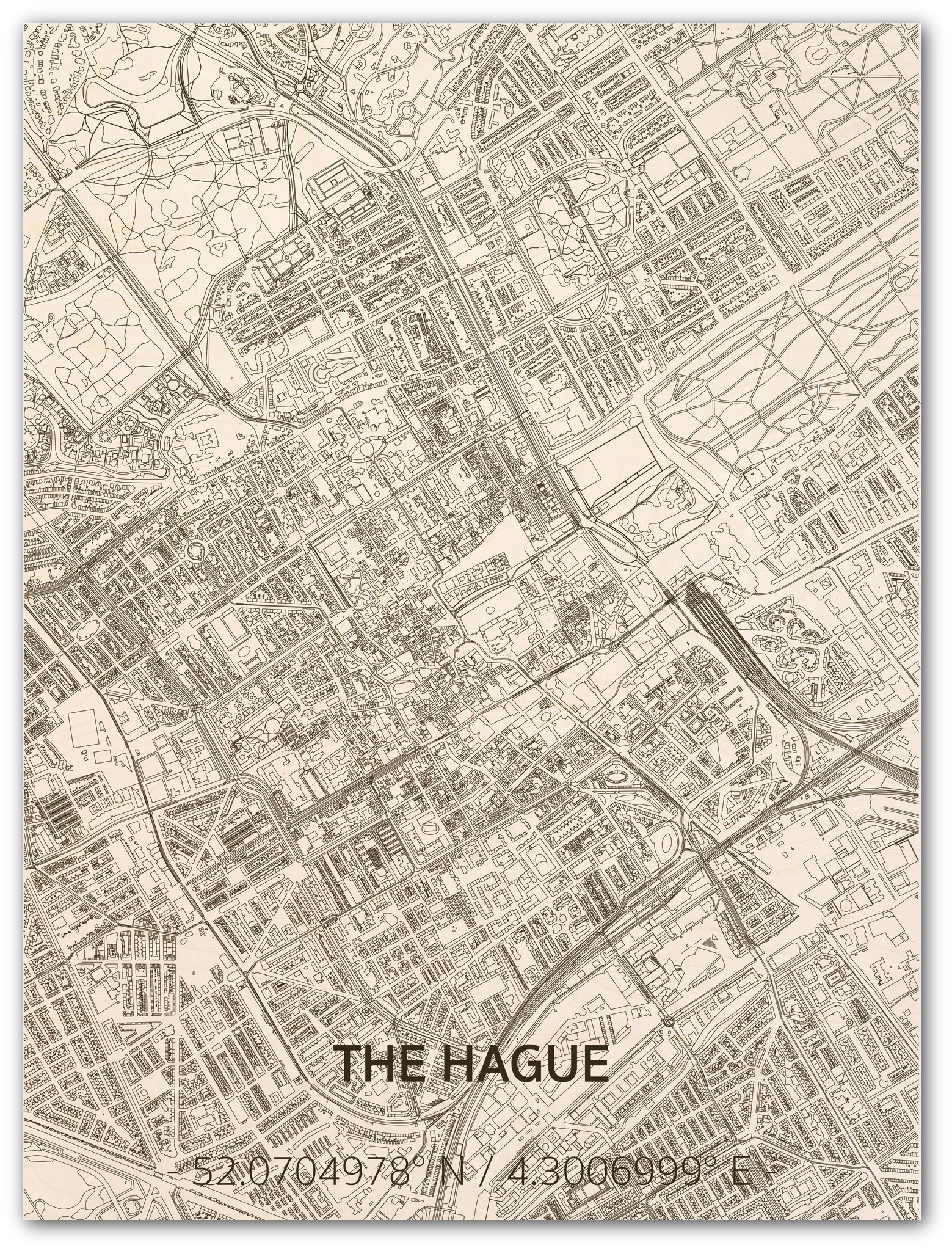 Stadtplan Den Haag | Wanddekoration Holz-1