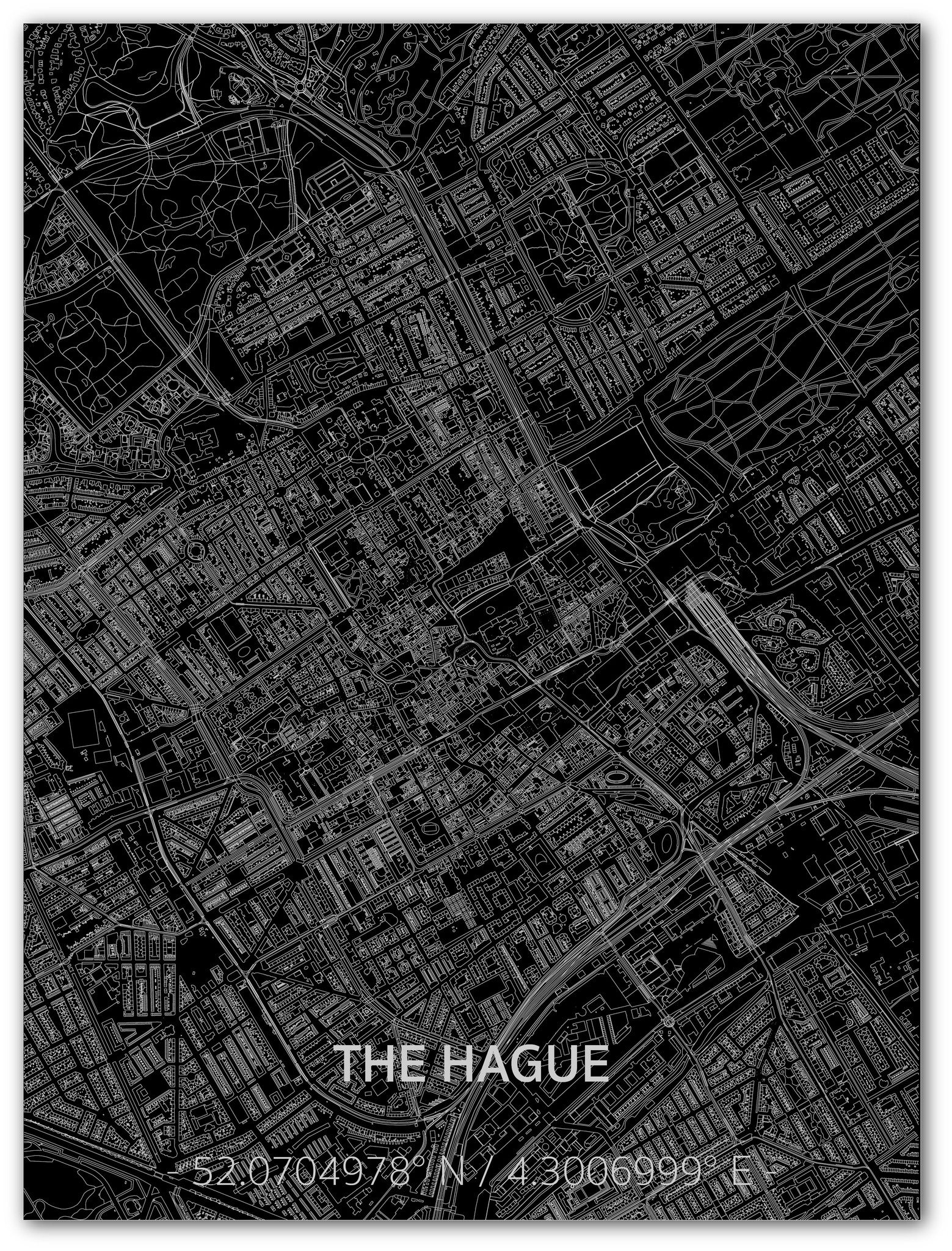 Citymap Den Haag | Aluminium wanddecoratie-1