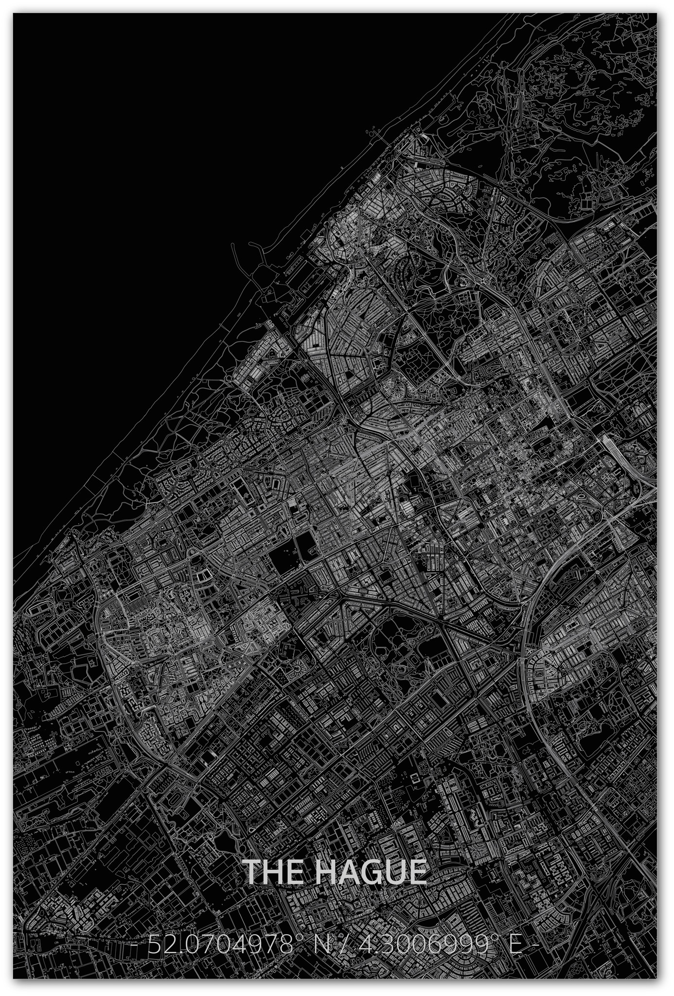 Stadtkarte Den Haag XL | Aluminium Wanddekoration-1