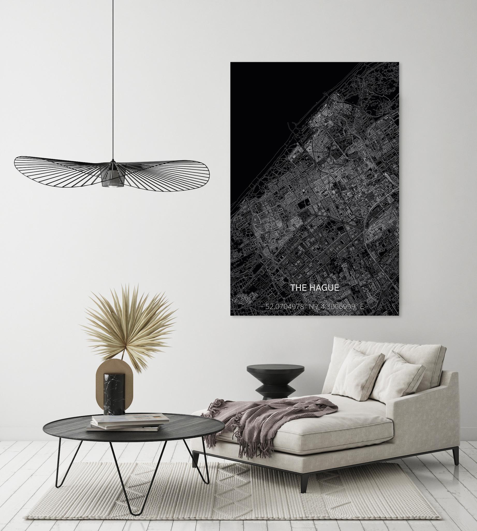 Stadtkarte Den Haag XL | Aluminium Wanddekoration-2