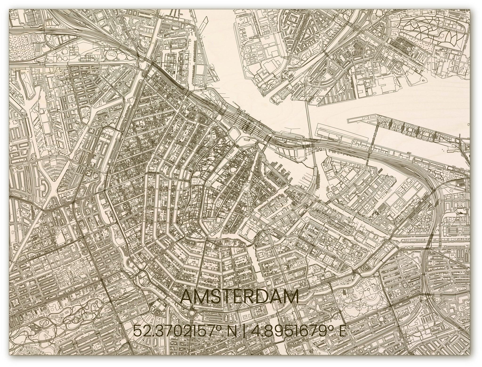 Wooden wall decoration citymap Amsterdam-3