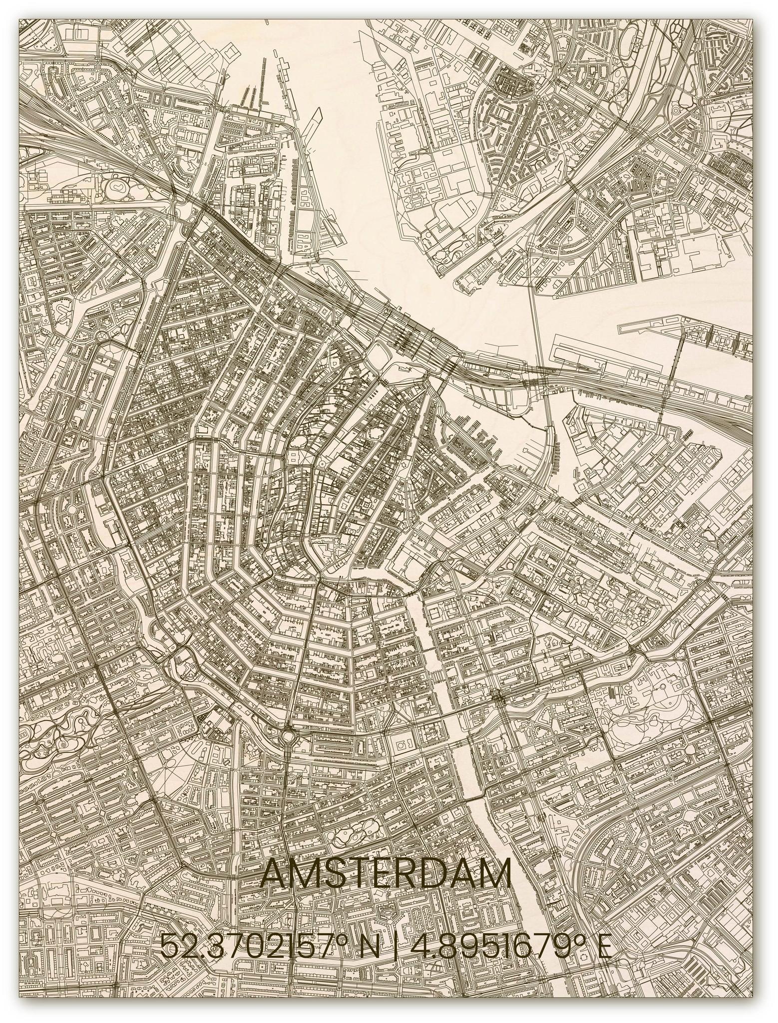 Wooden wall decoration citymap Amsterdam-1