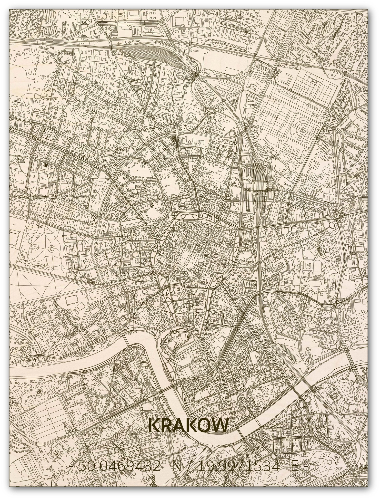 Citymap Krakau | houten wanddecoratie-1