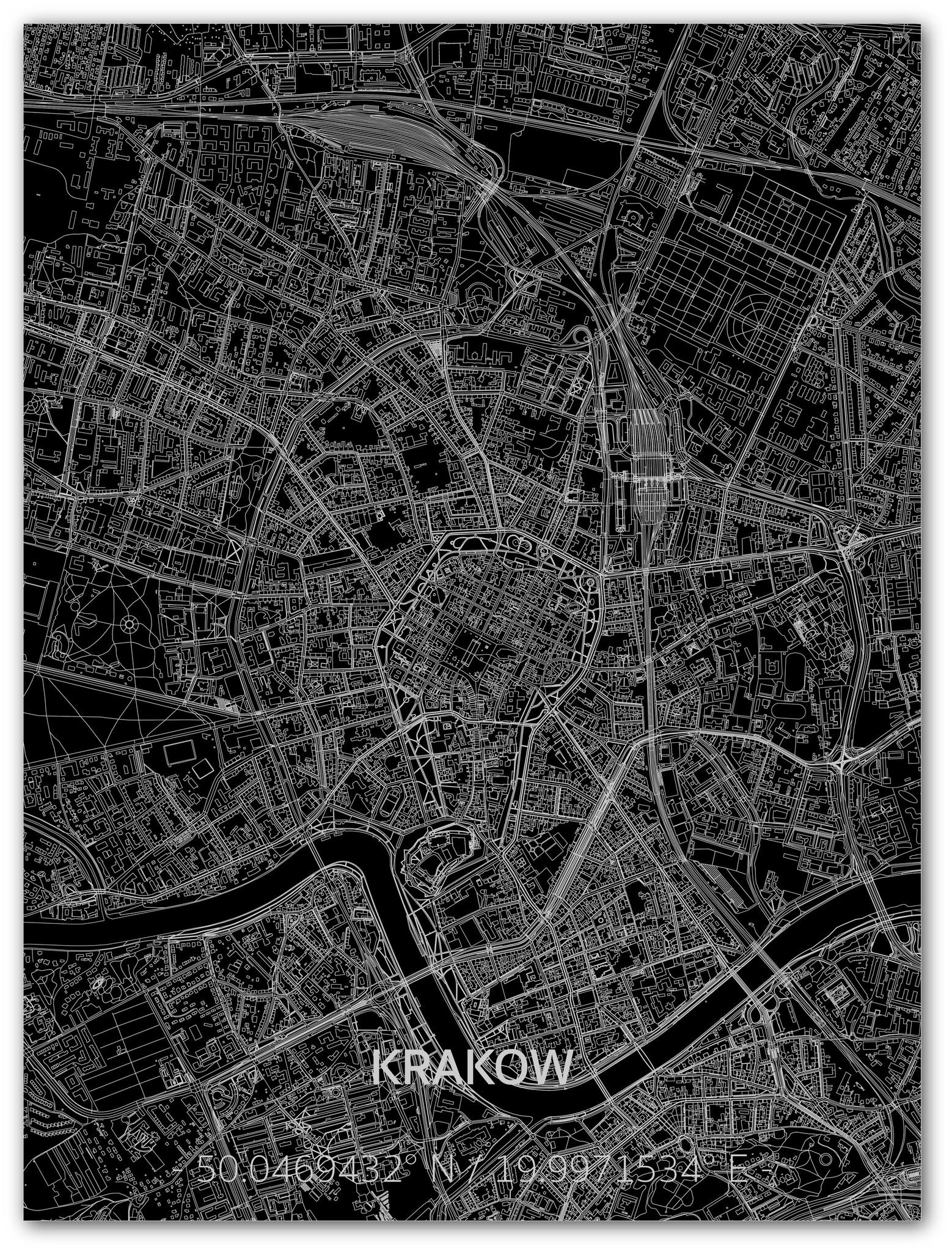 Citymap Krakau | Aluminium wanddecoratie-1