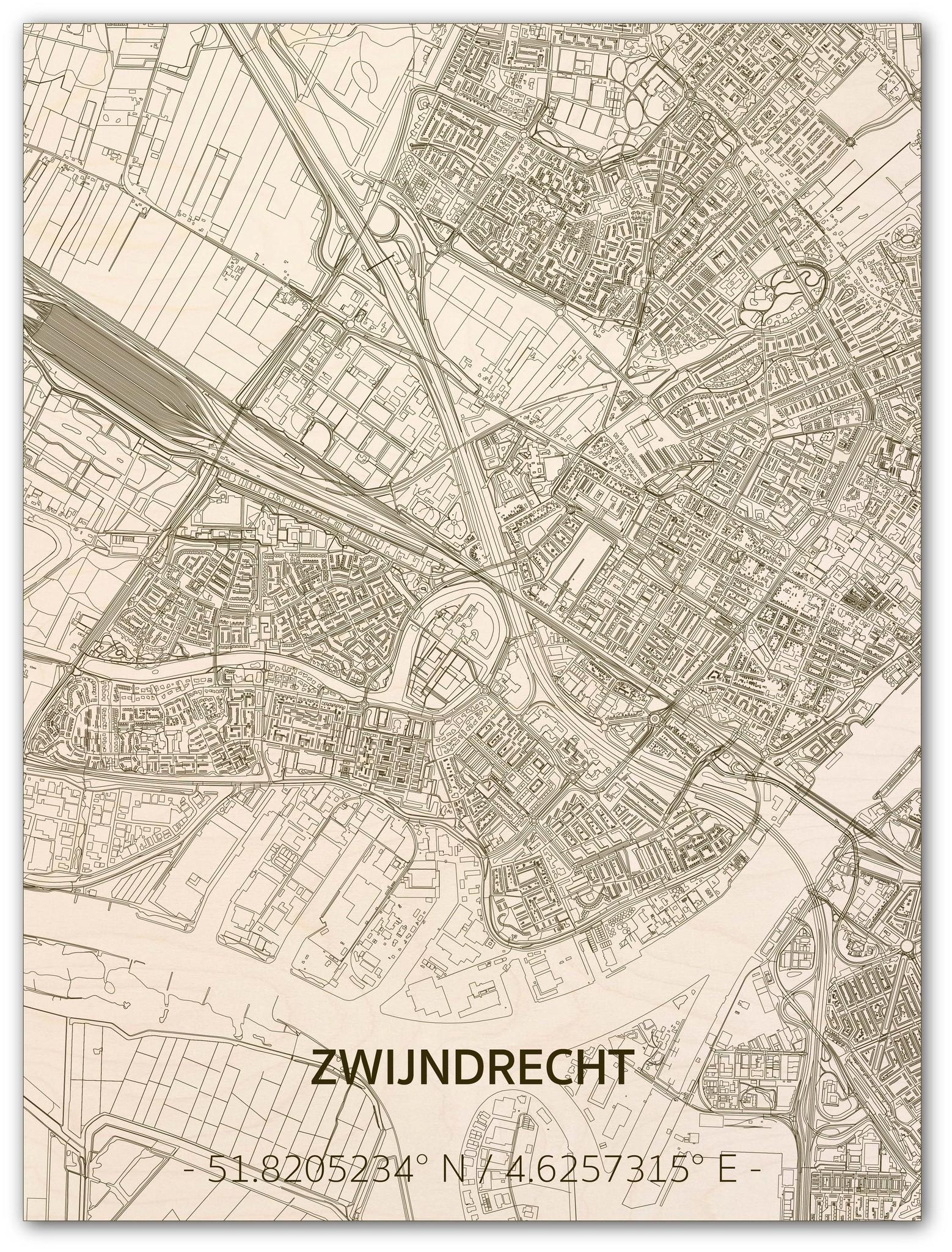 Citymap Zwijndrecht   wooden wall decoration-1