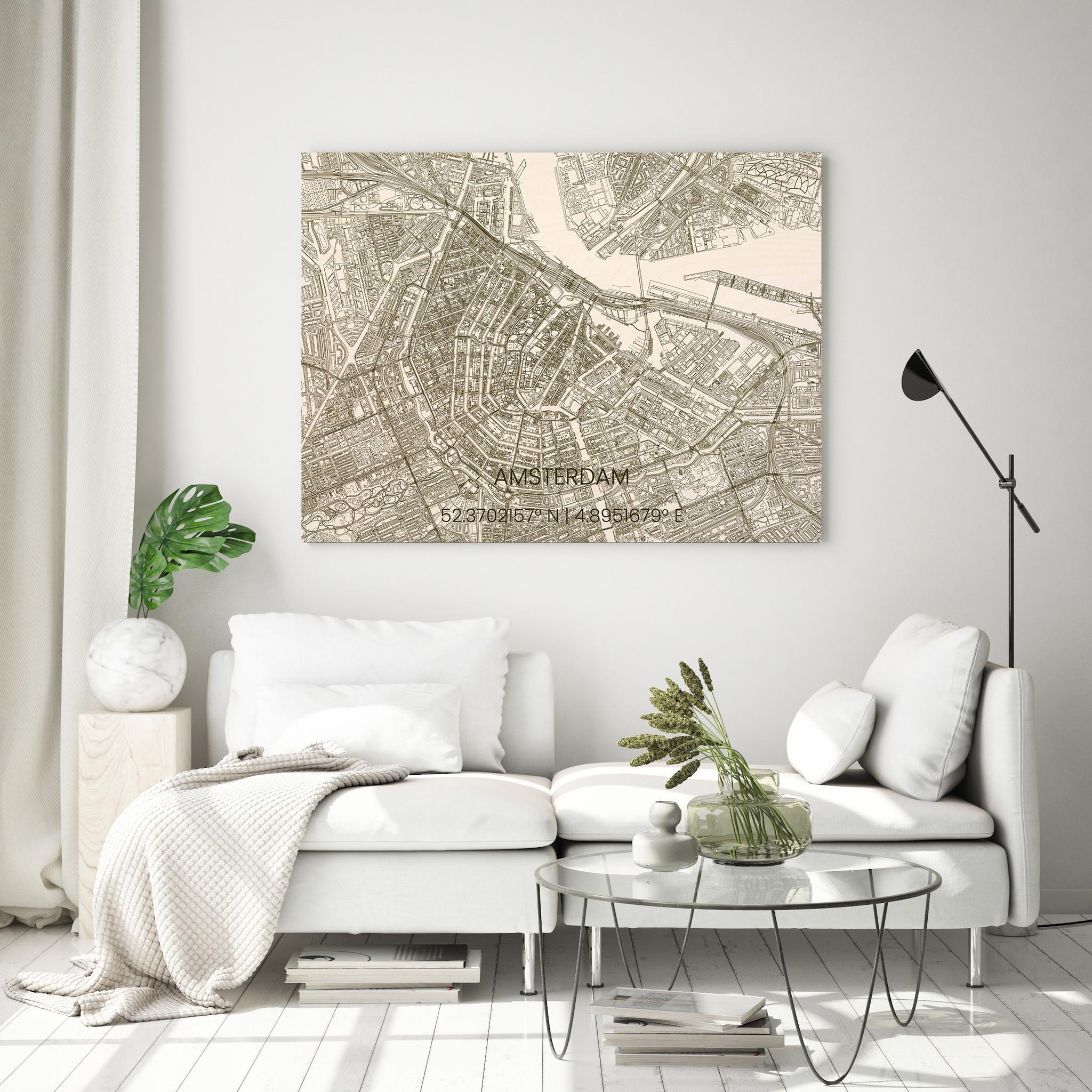 Wooden wall decoration citymap Amsterdam-4