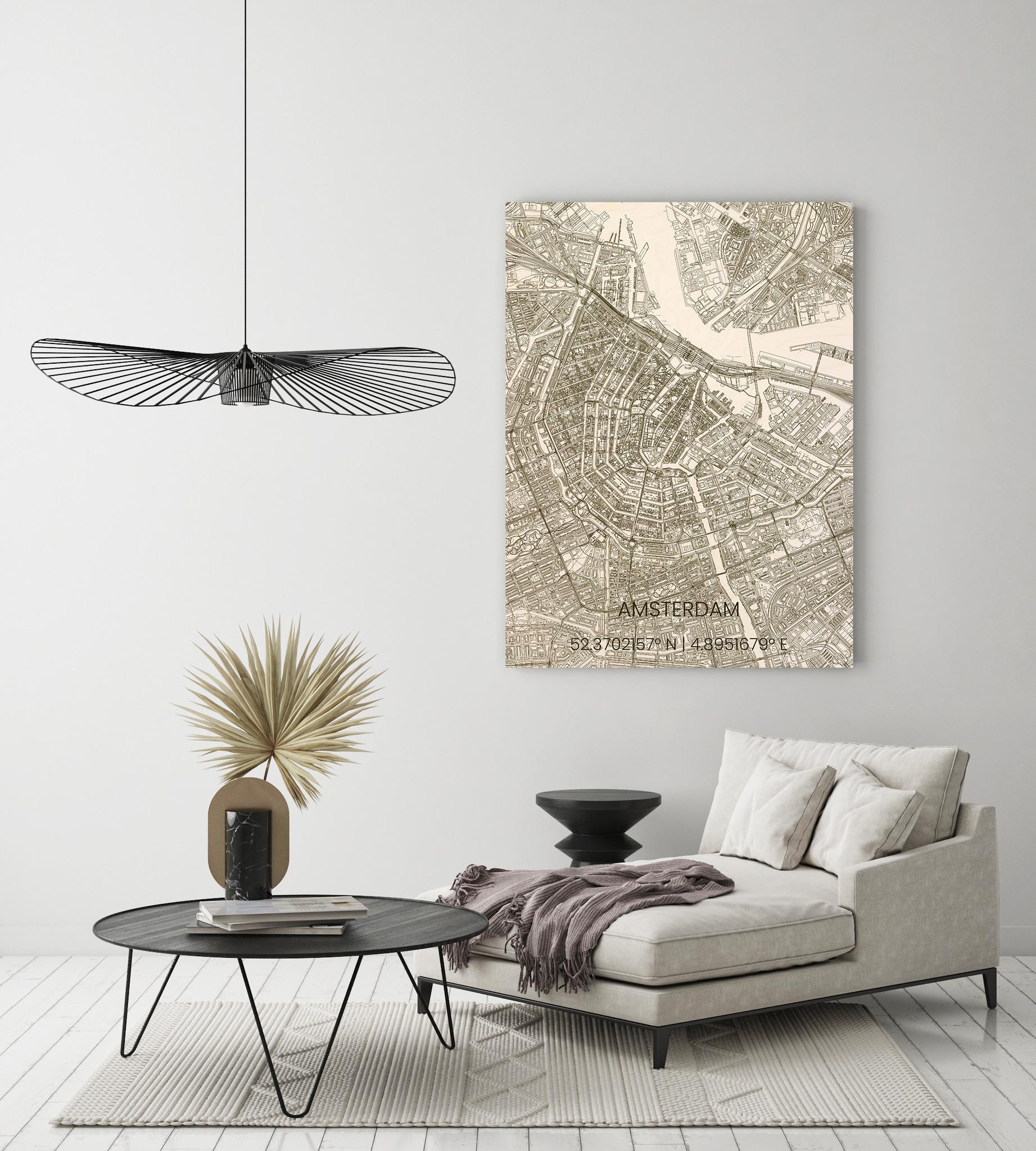 Wooden wall decoration citymap Amsterdam-2