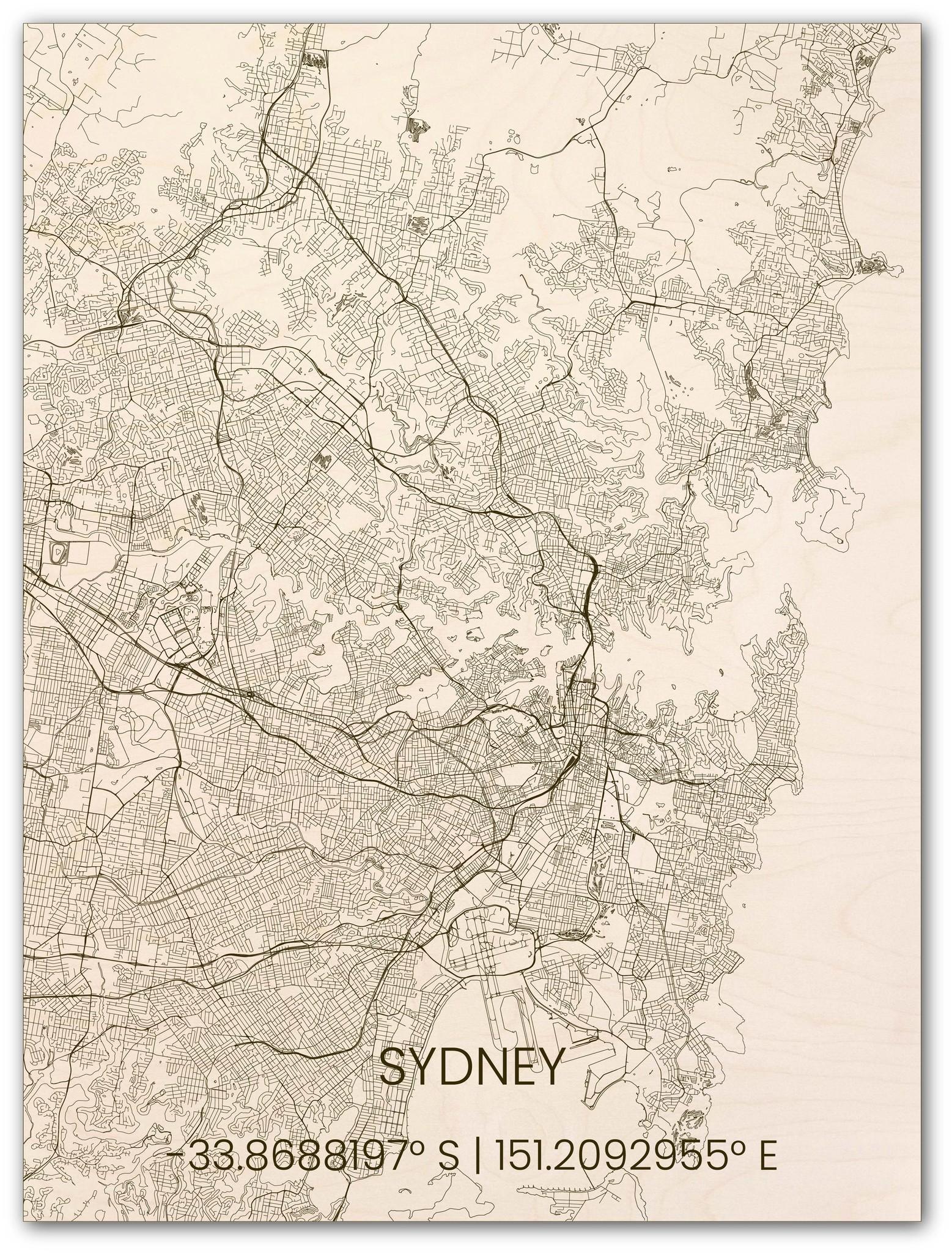 Wooden wall decoration citymap Sydney-1