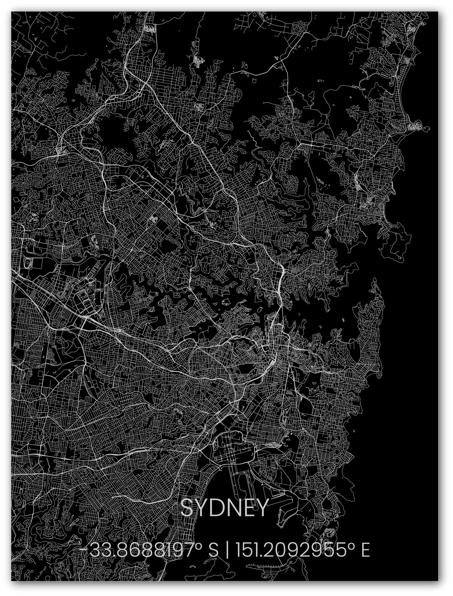 Metalen stadsplattegrond Sydney-1