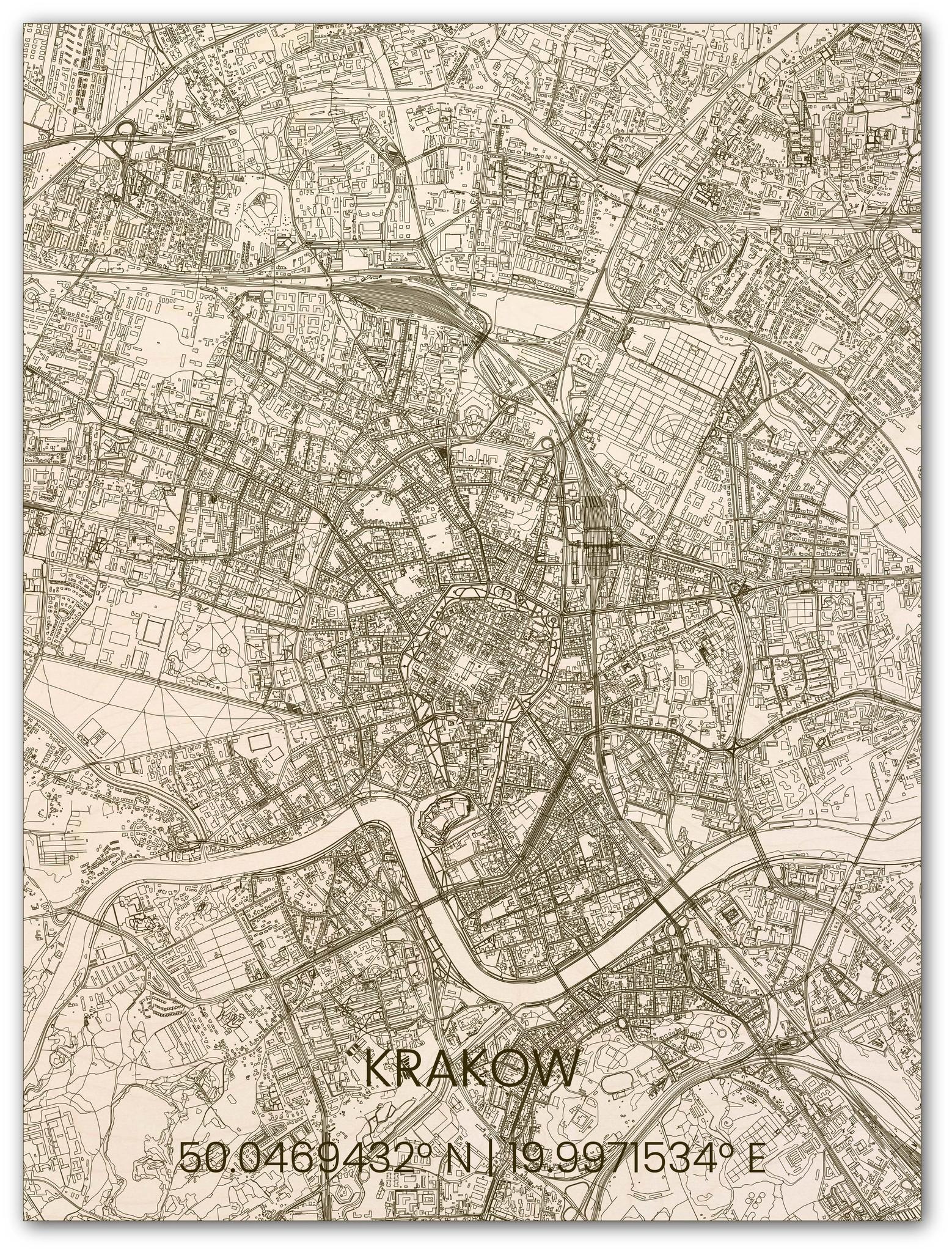 Houten stadsplattegrond Krakau-1