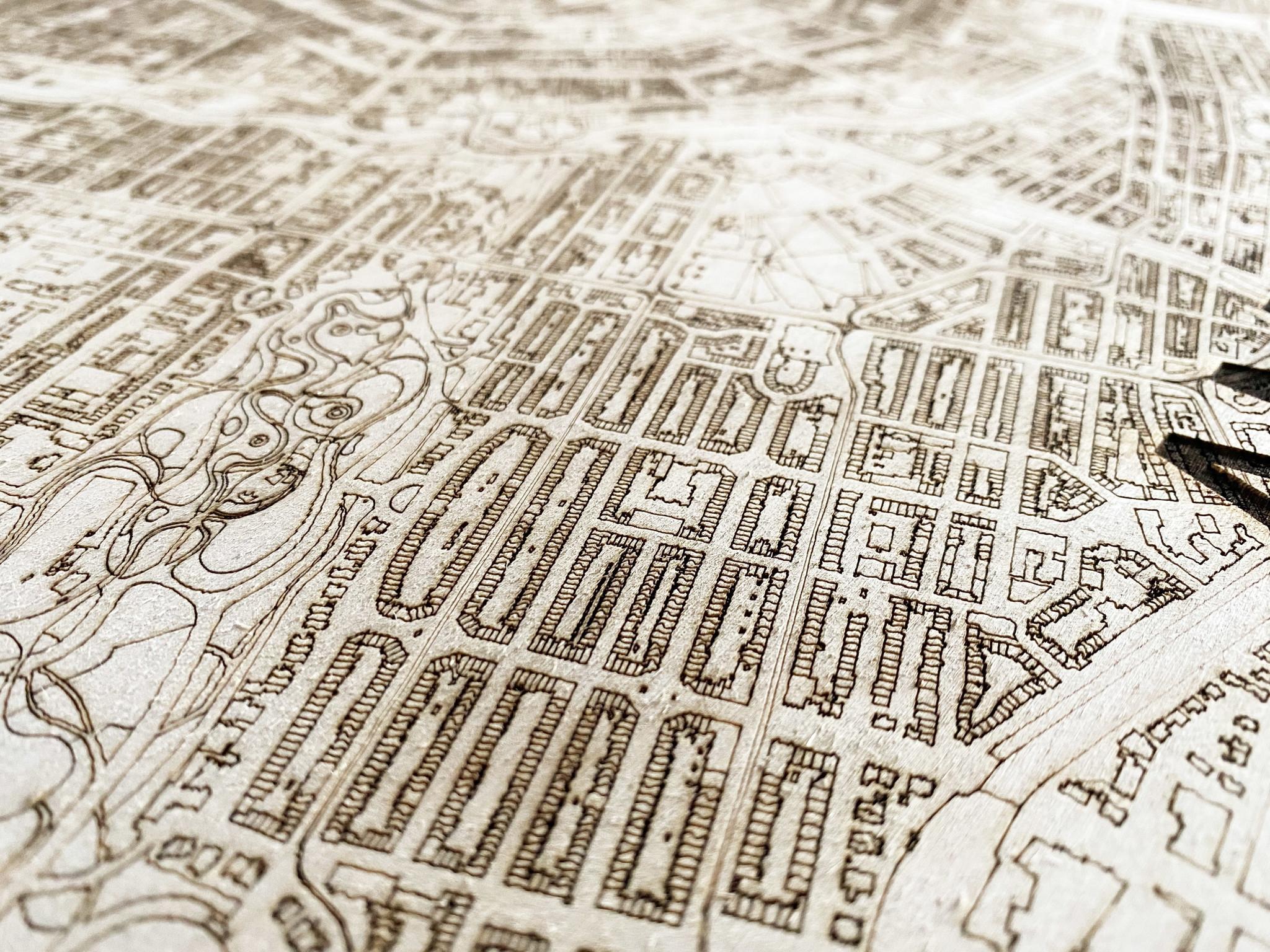 Wooden wall decoration citymap Paris-3