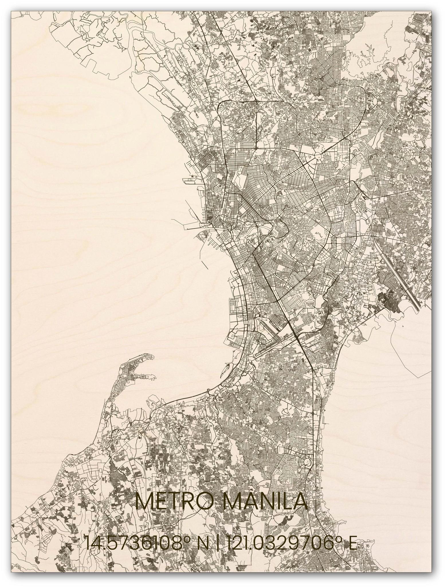 Houten stadsplattegrond Metro Manila-1