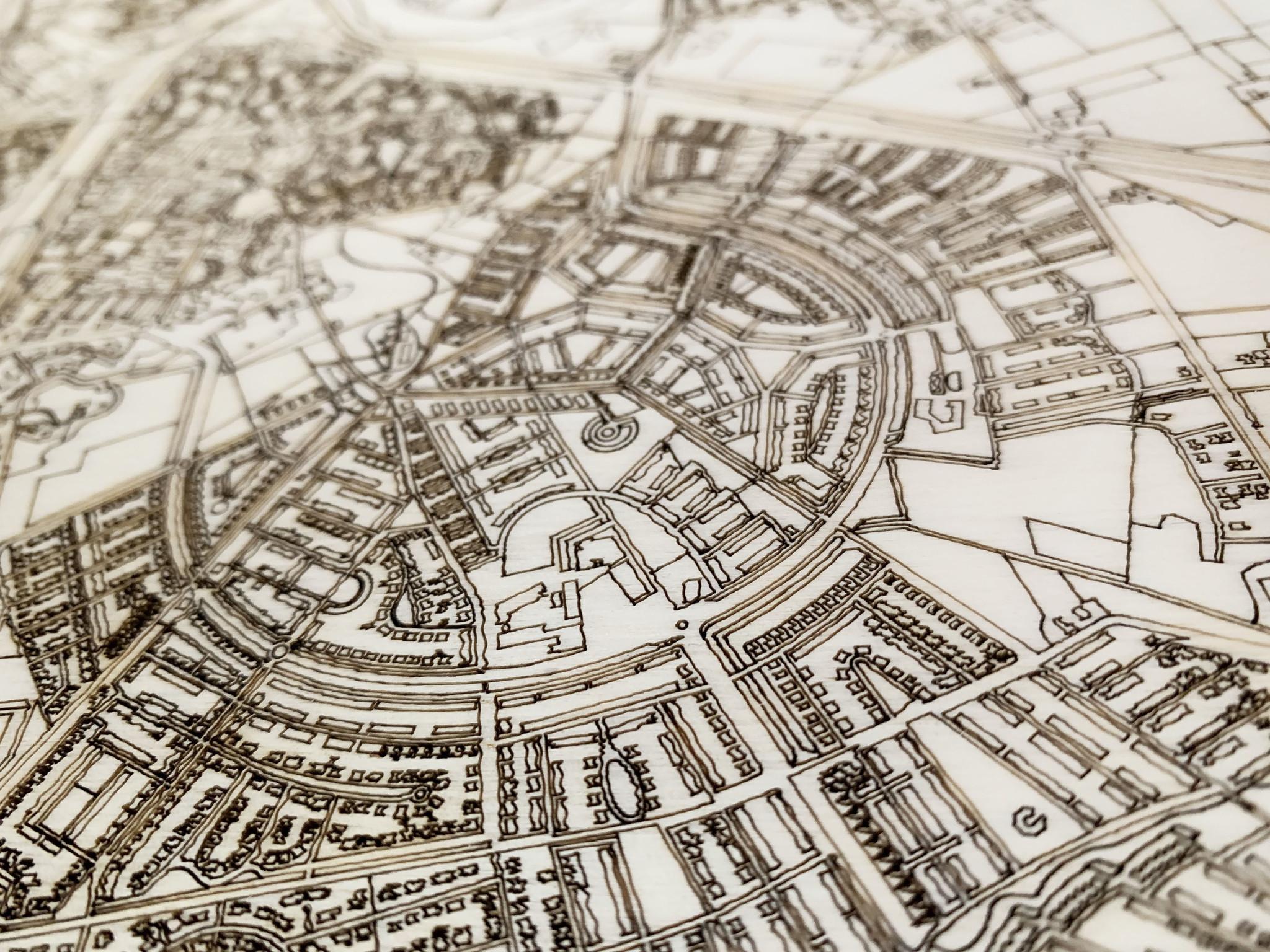 Wooden wall decoration citymap Delft-4