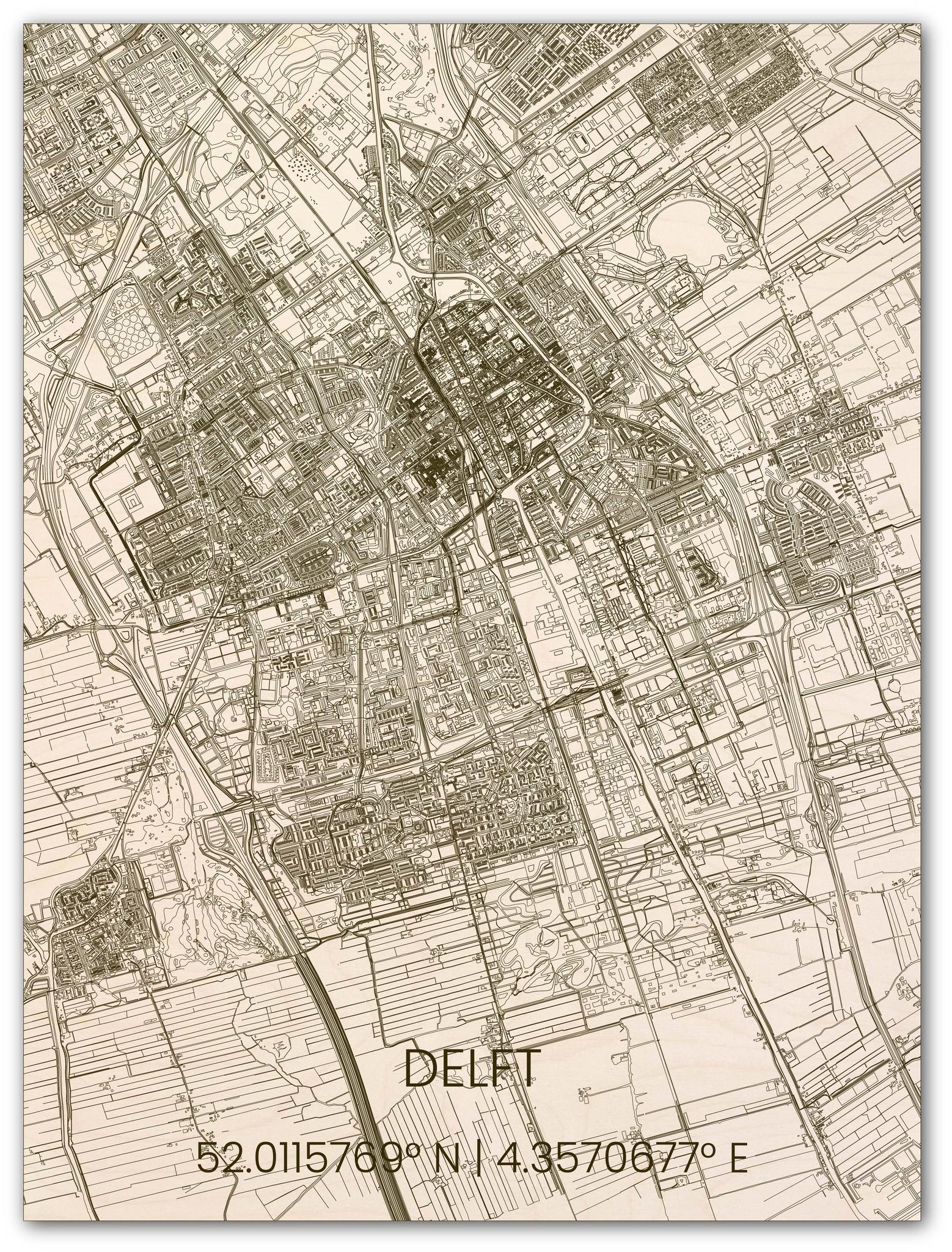 Wooden wall decoration citymap Delft-1
