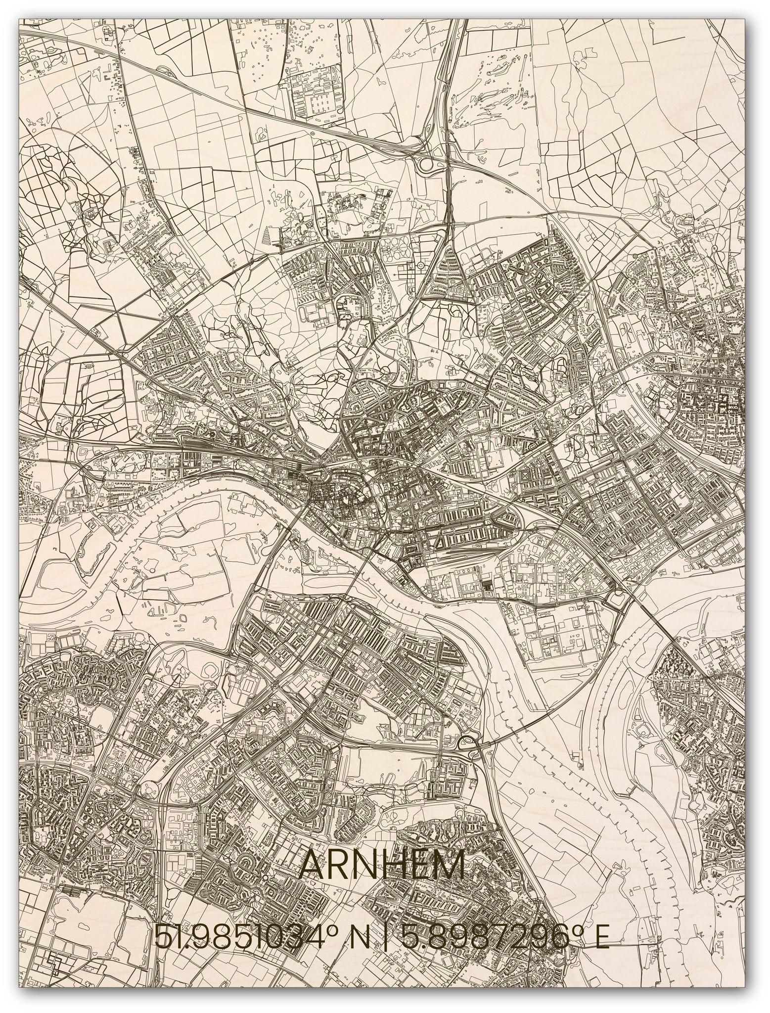 Wooden wall decoration citymap Arnhem-1