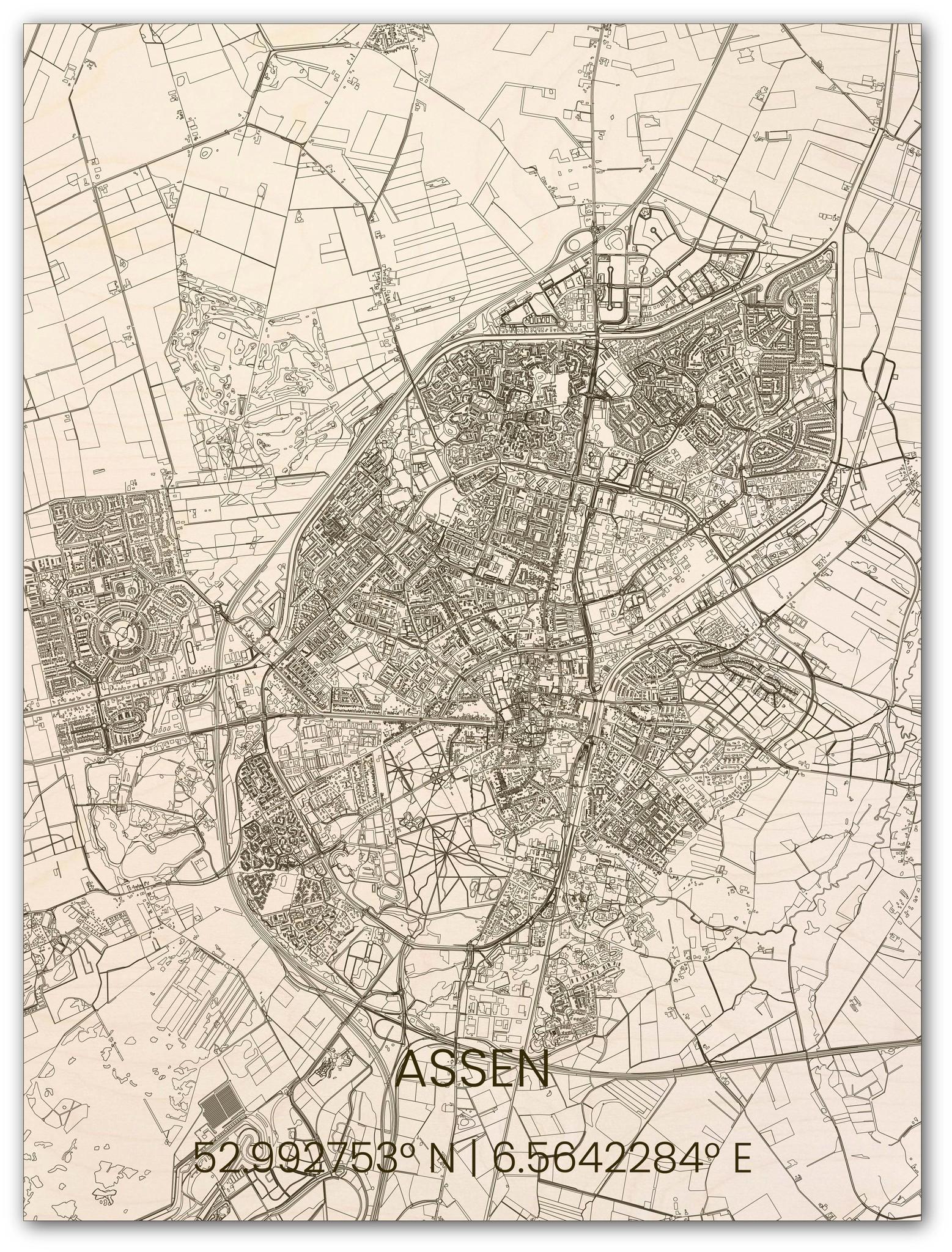 Wooden wall decoration citymap Assen-1