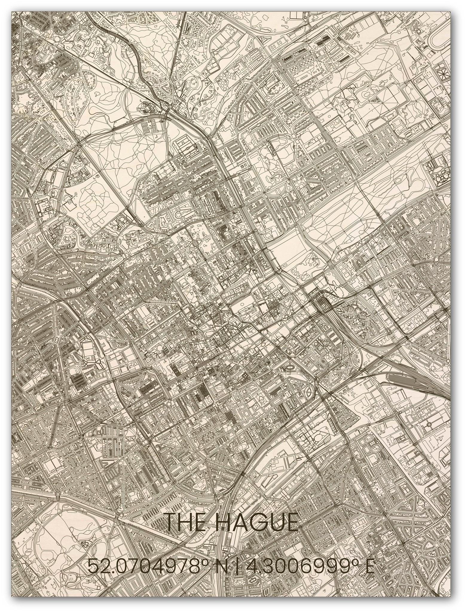 Hölzerner Stadtplan Den Haag-1