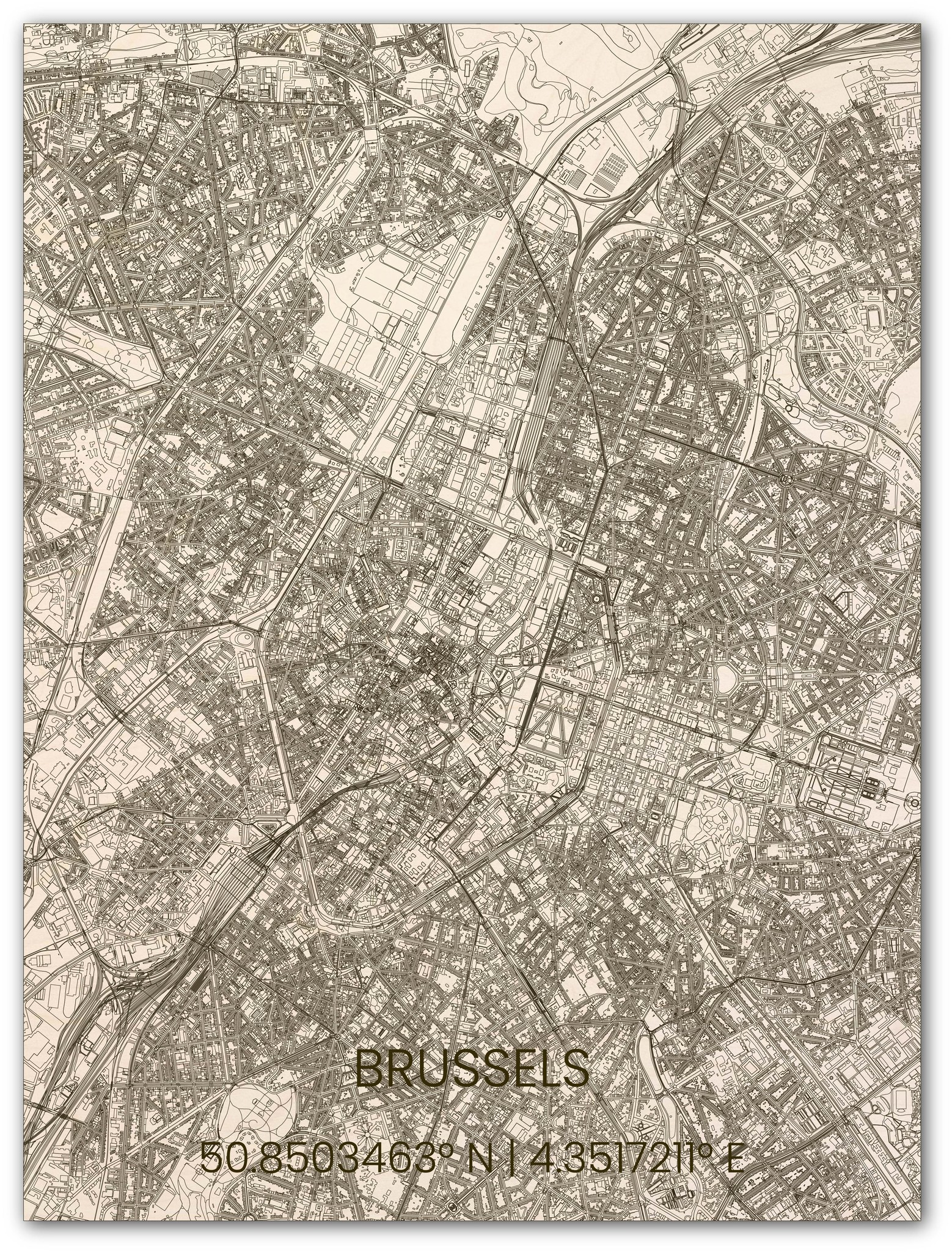 Houten stadsplattegrond Brussel-1