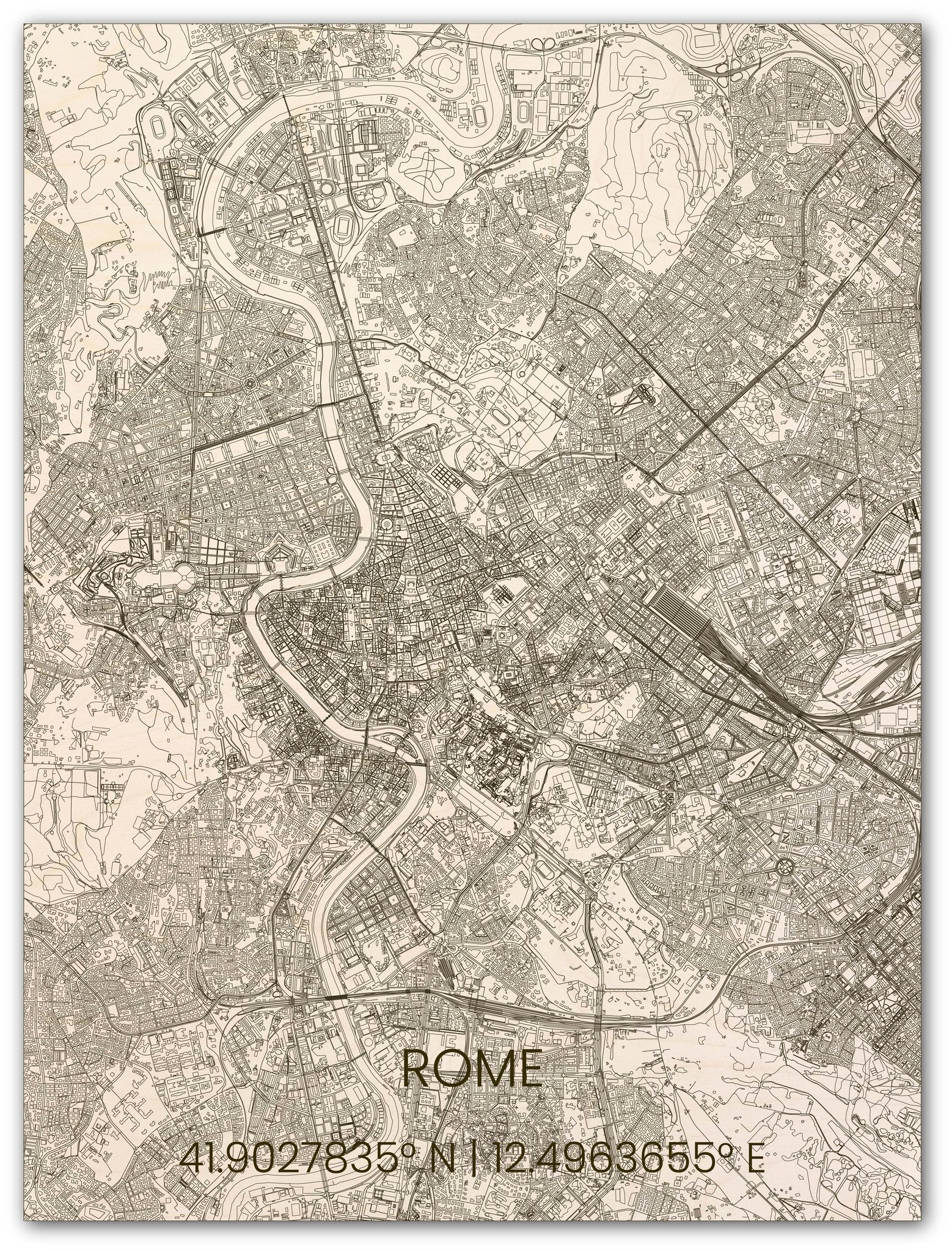 Wooden wall decoration citymap Rome-1