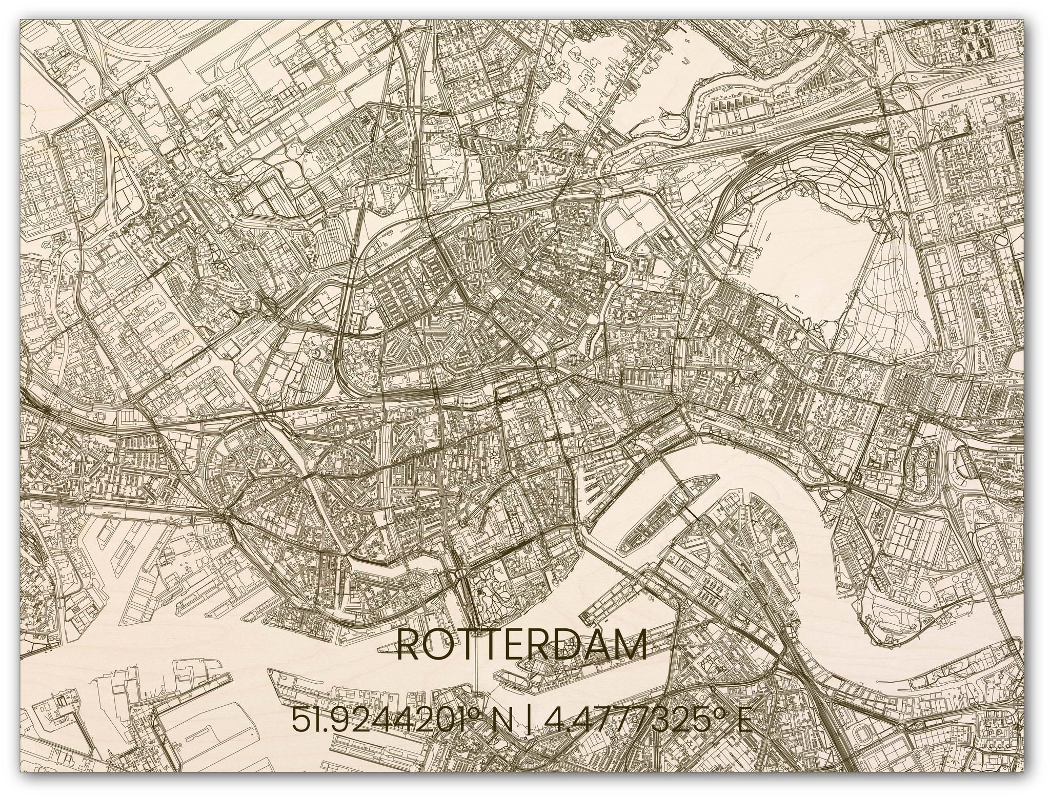 Houten stadsplattegrond Rotterdam-3