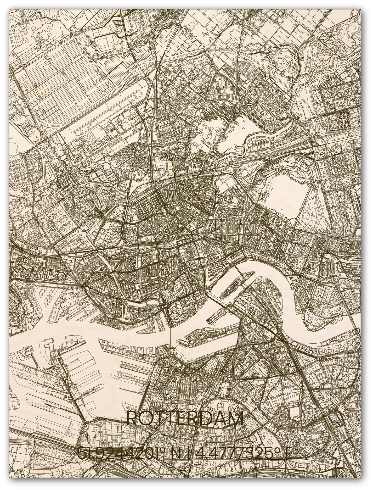 Houten stadsplattegrond Rotterdam-1