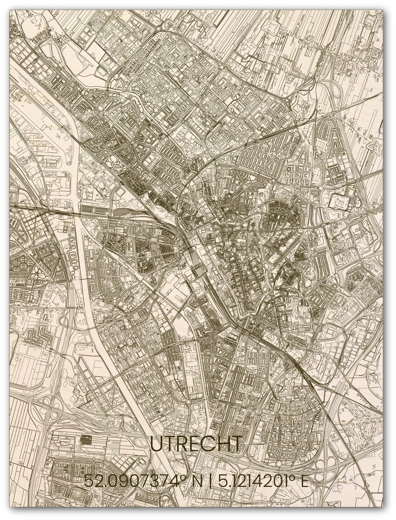 Houten stadsplattegrond Utrecht-1