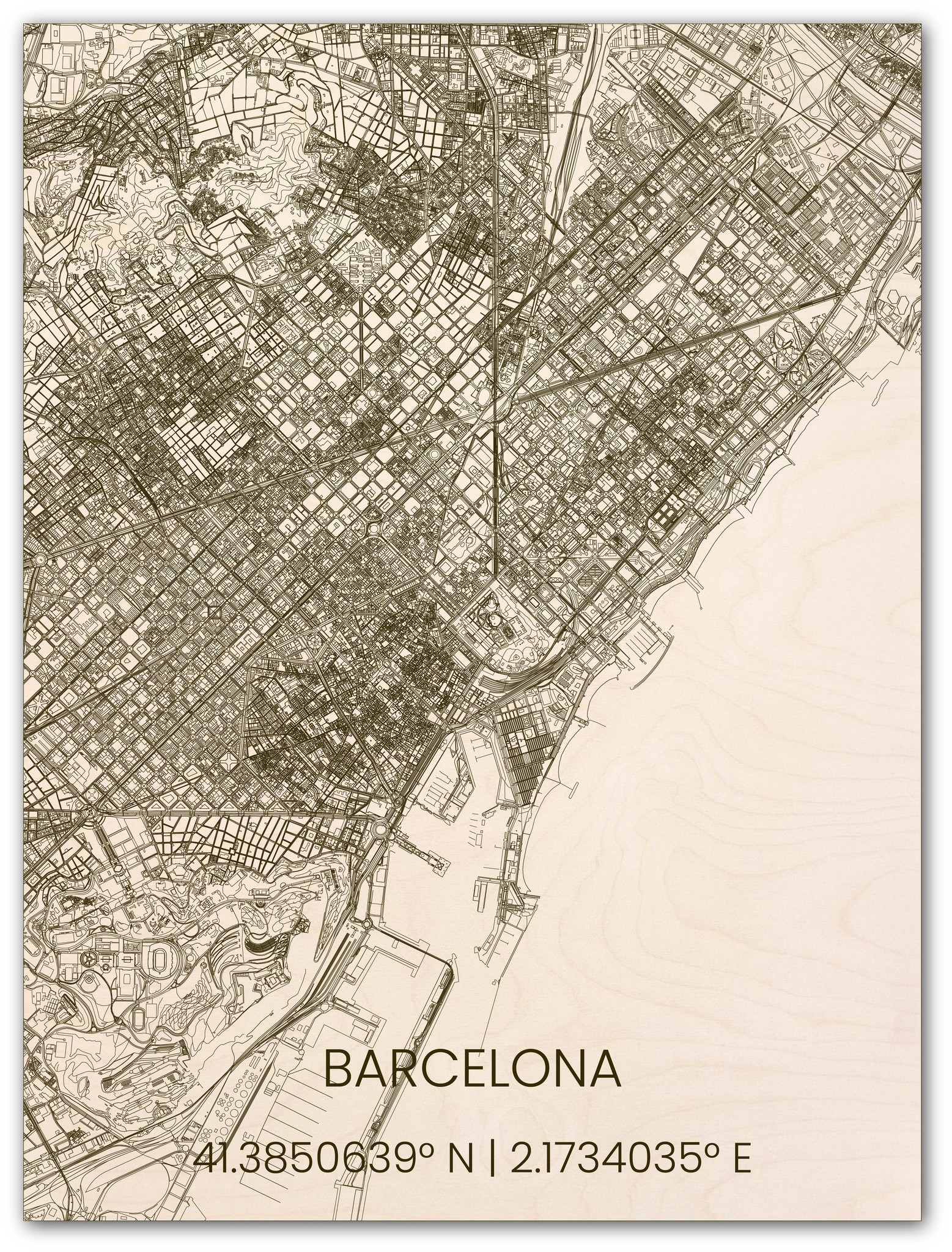 Houten stadsplattegrond Barcelona-1