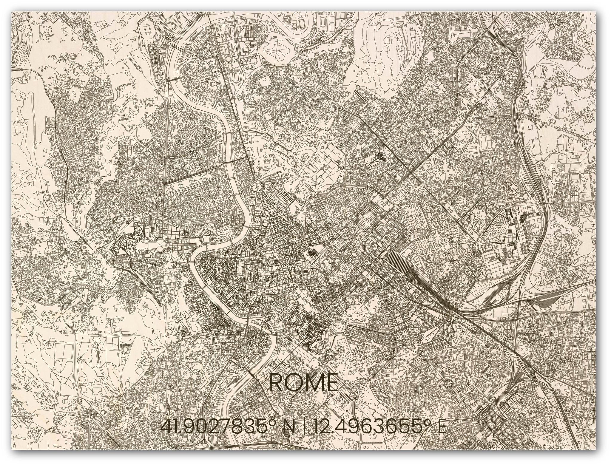 Wooden wall decoration citymap Rome-2