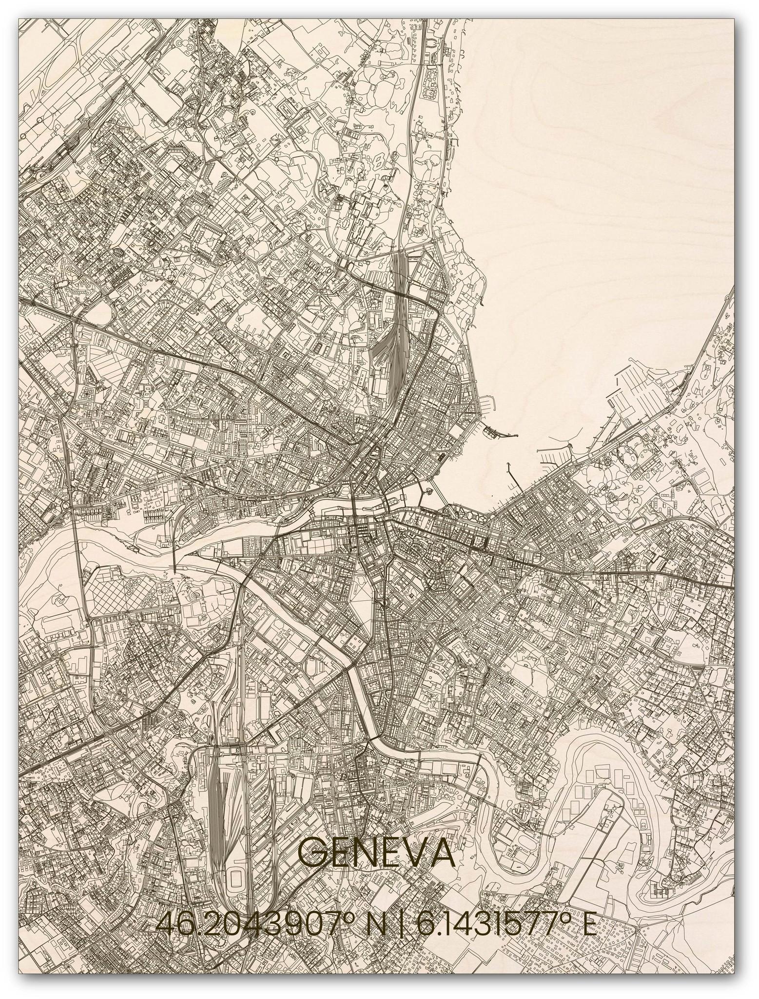 Houten stadsplattegrond Genève-1