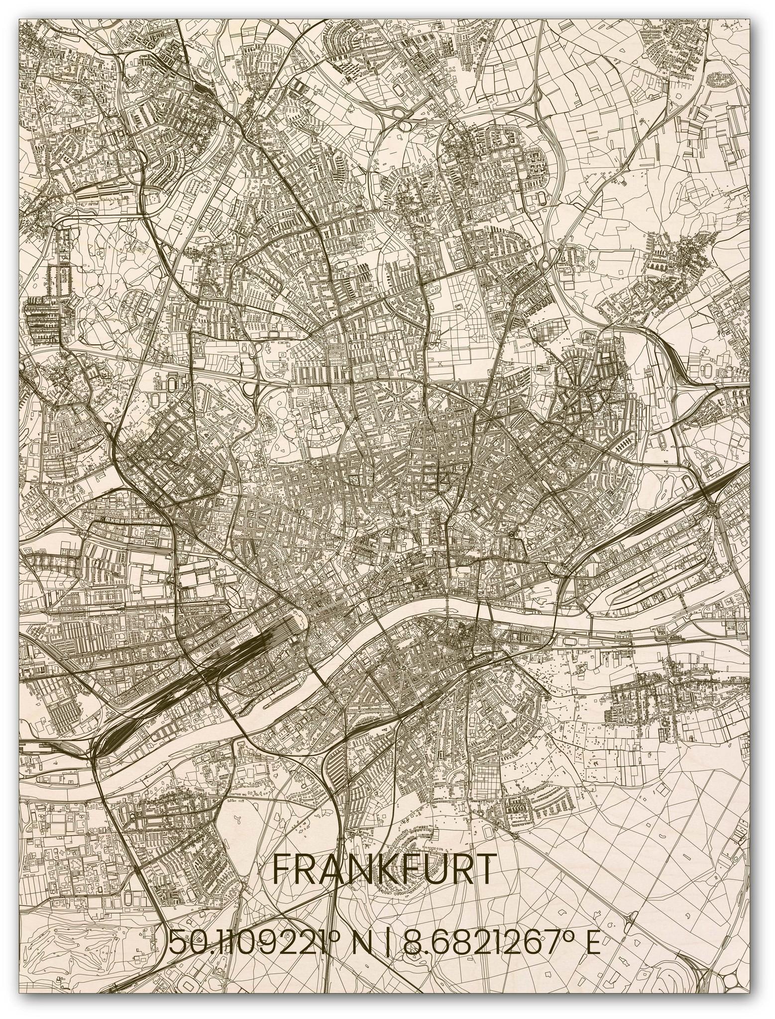 Houten stadsplattegrond Frankfurt-1