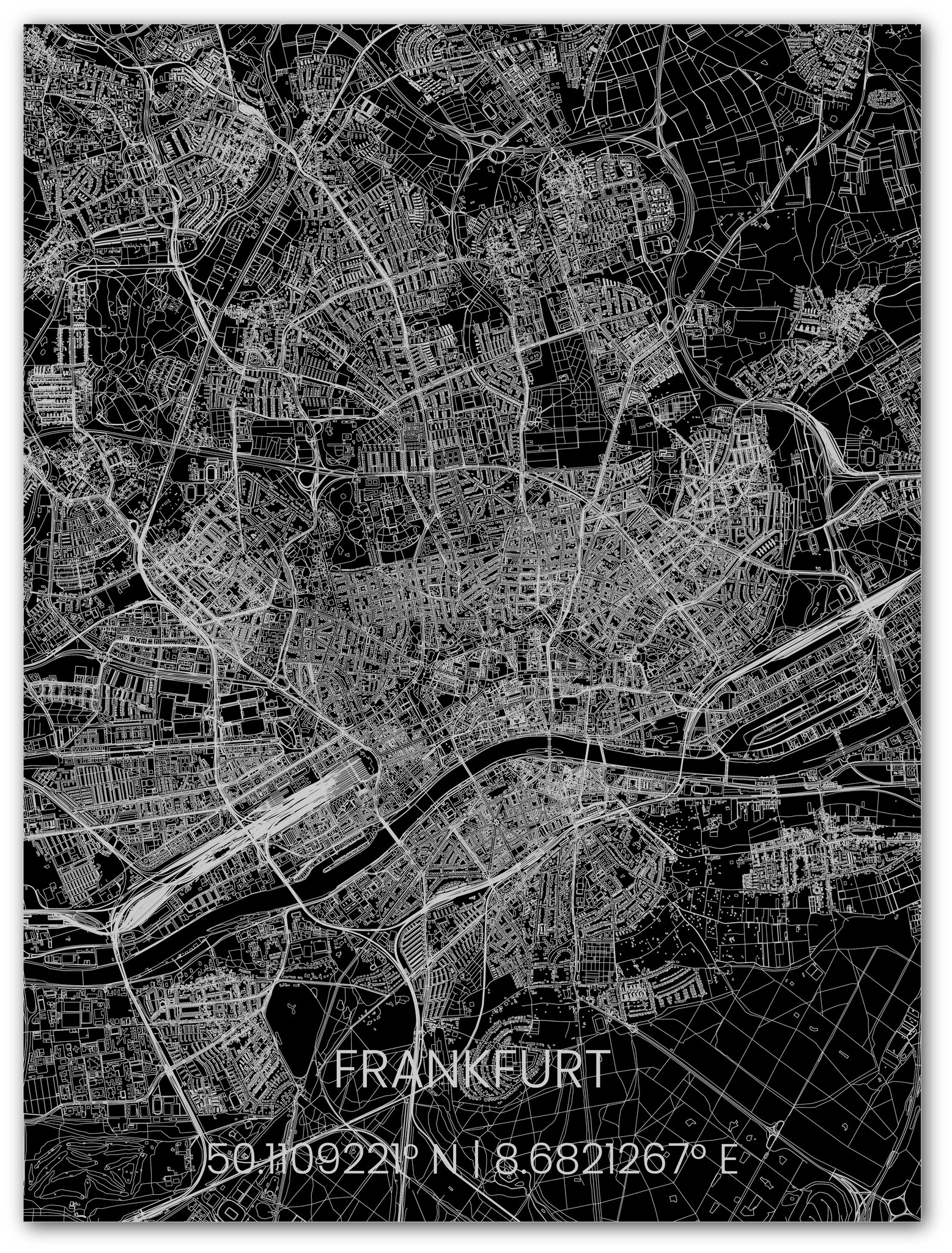 Stadtkarte Metal Frankfurt-1
