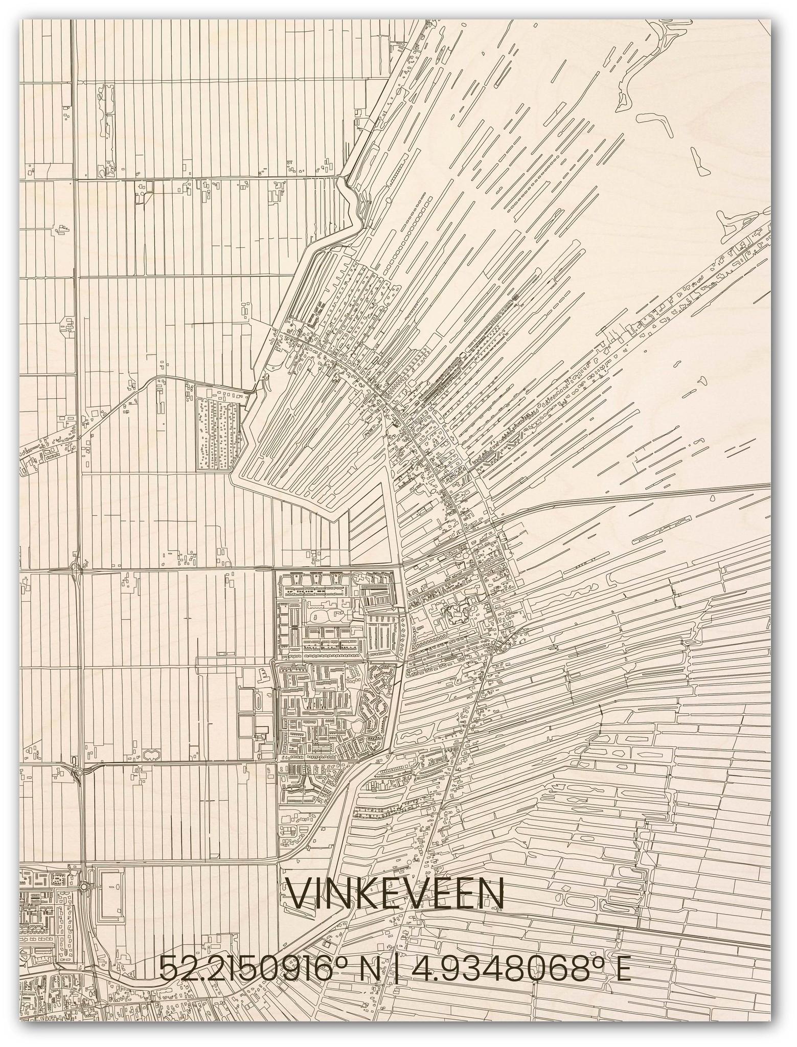 Wooden wall decoration citymap Vinkeveen-1