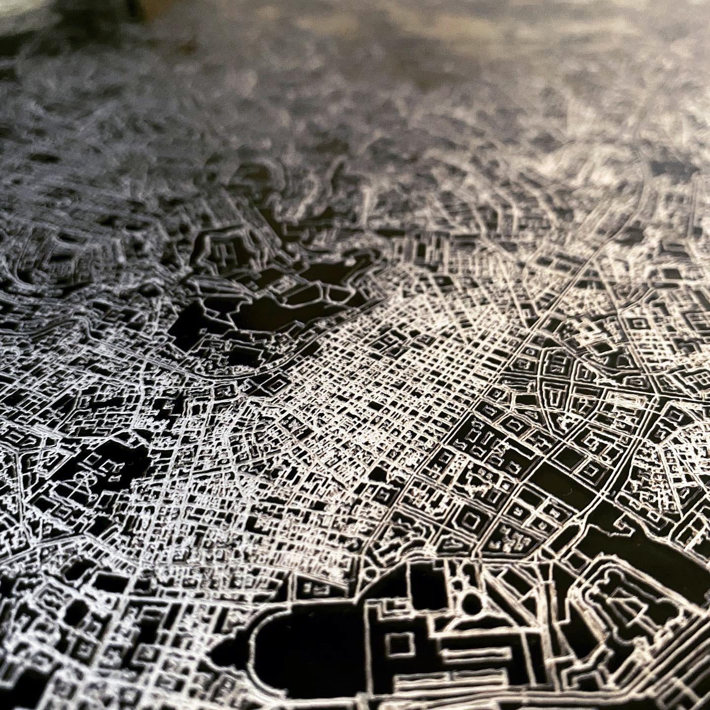 Stadtkarte Rhodos | Aluminium Wanddekoration-3