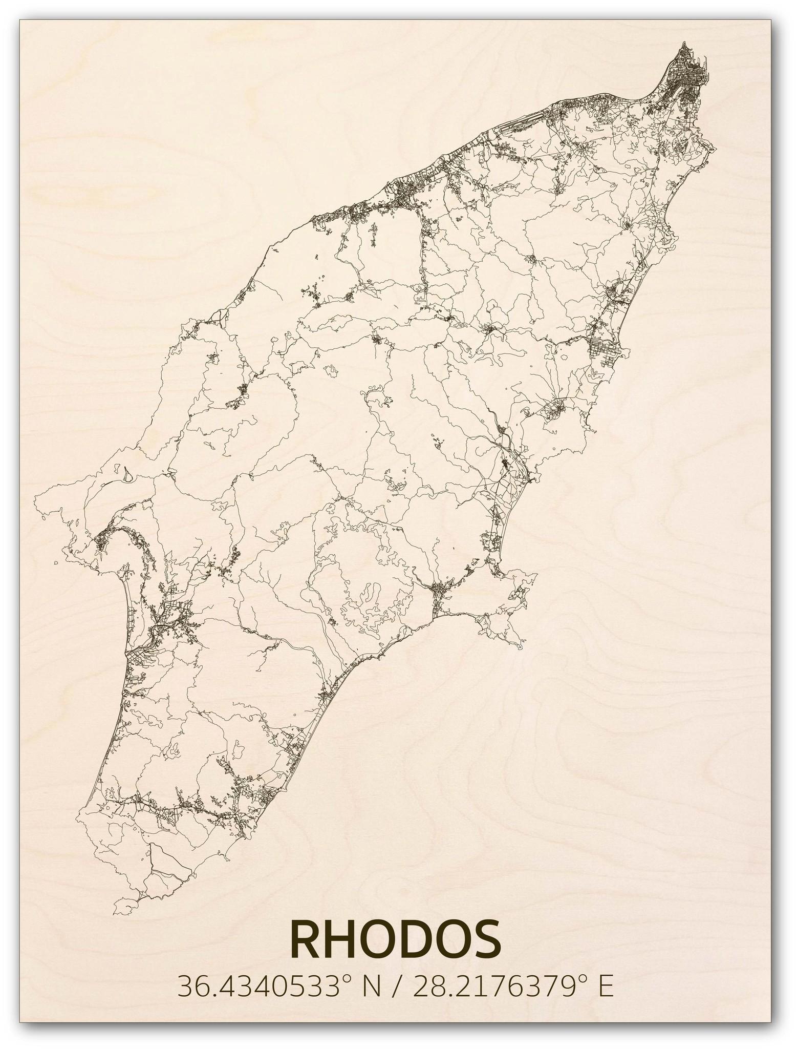 Citymap Rhodos | houten wanddecoratie-1