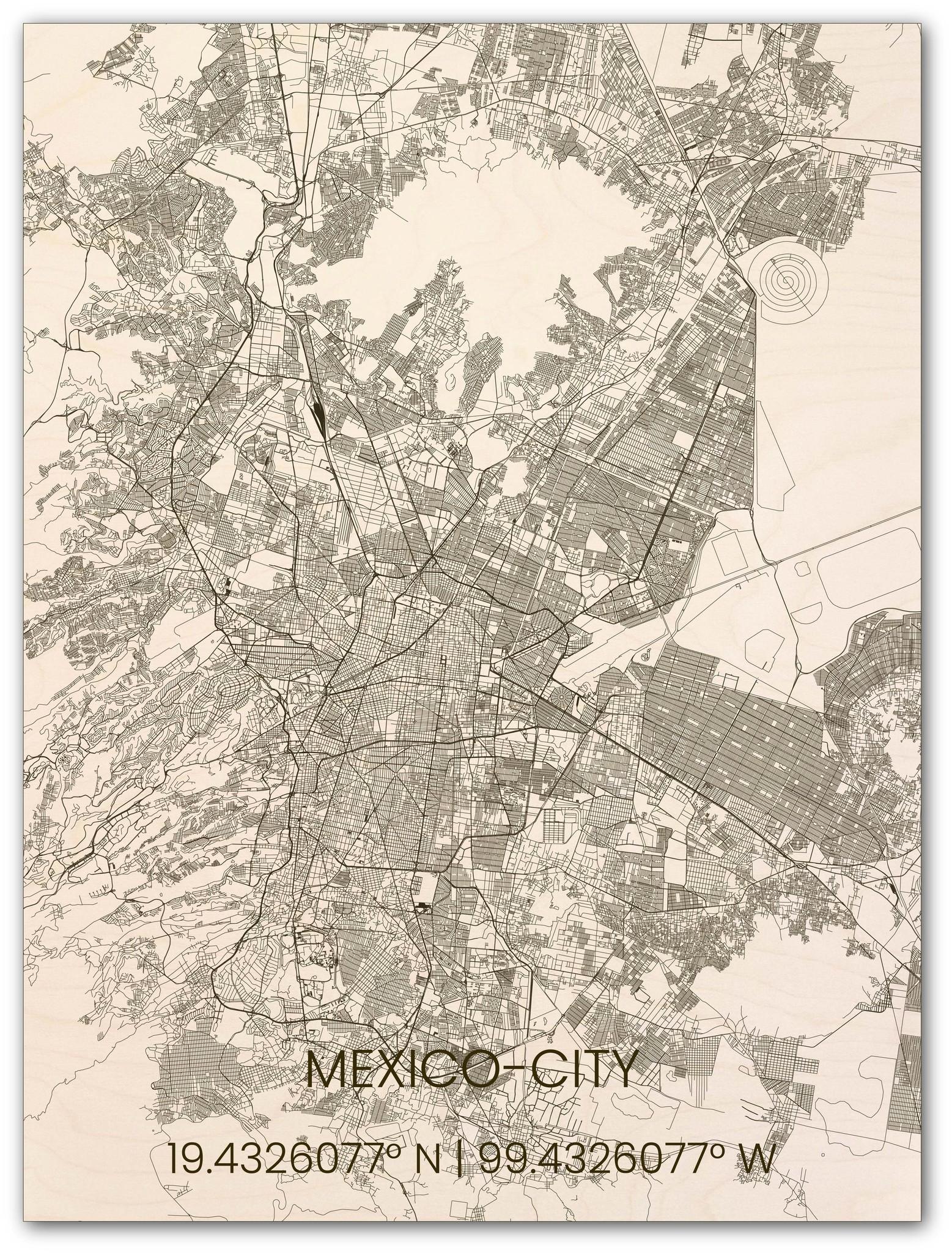 Citymap Mexico City | houten wanddecoratie-1