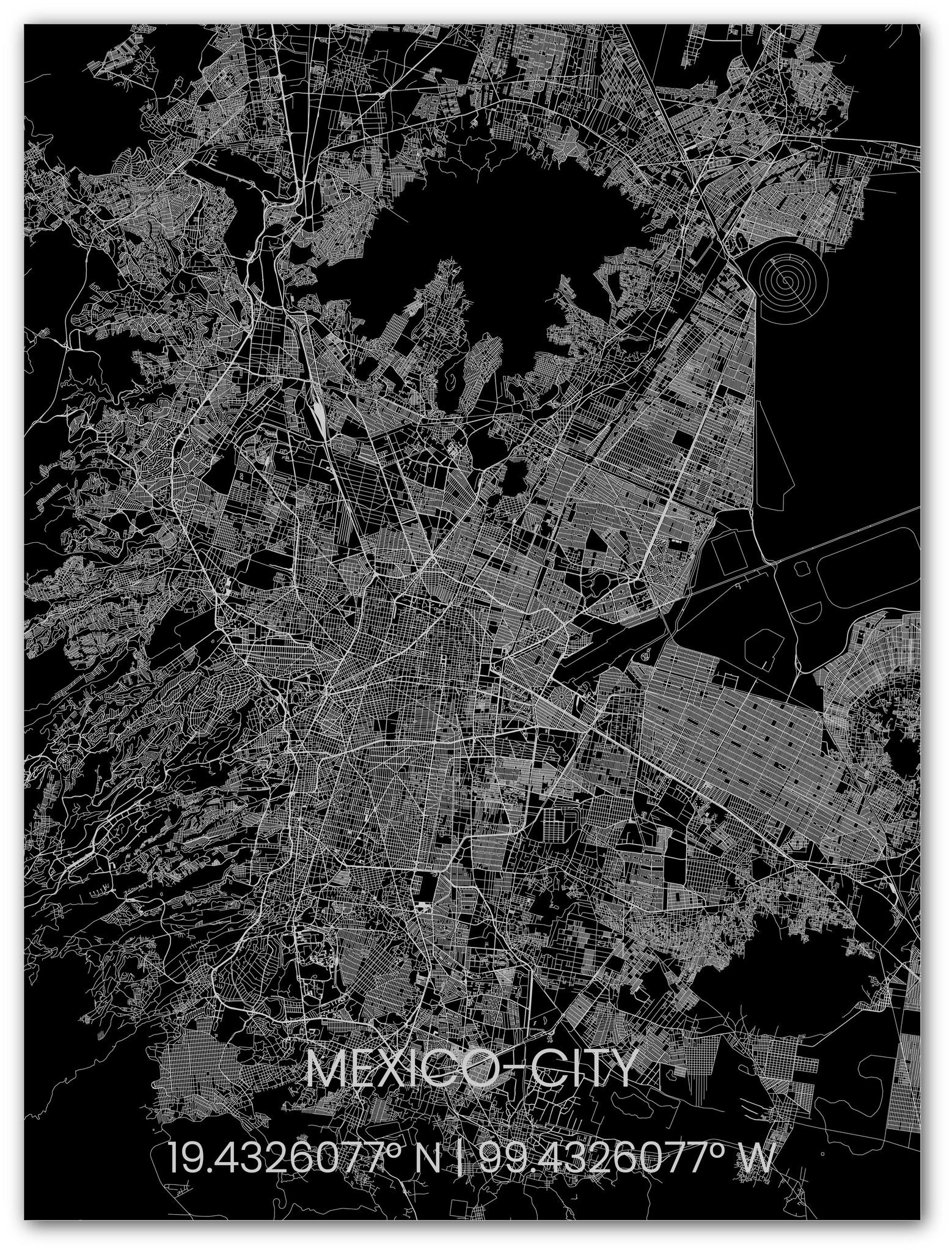 Citymap Mexico City | Aluminium wanddecoratie-1